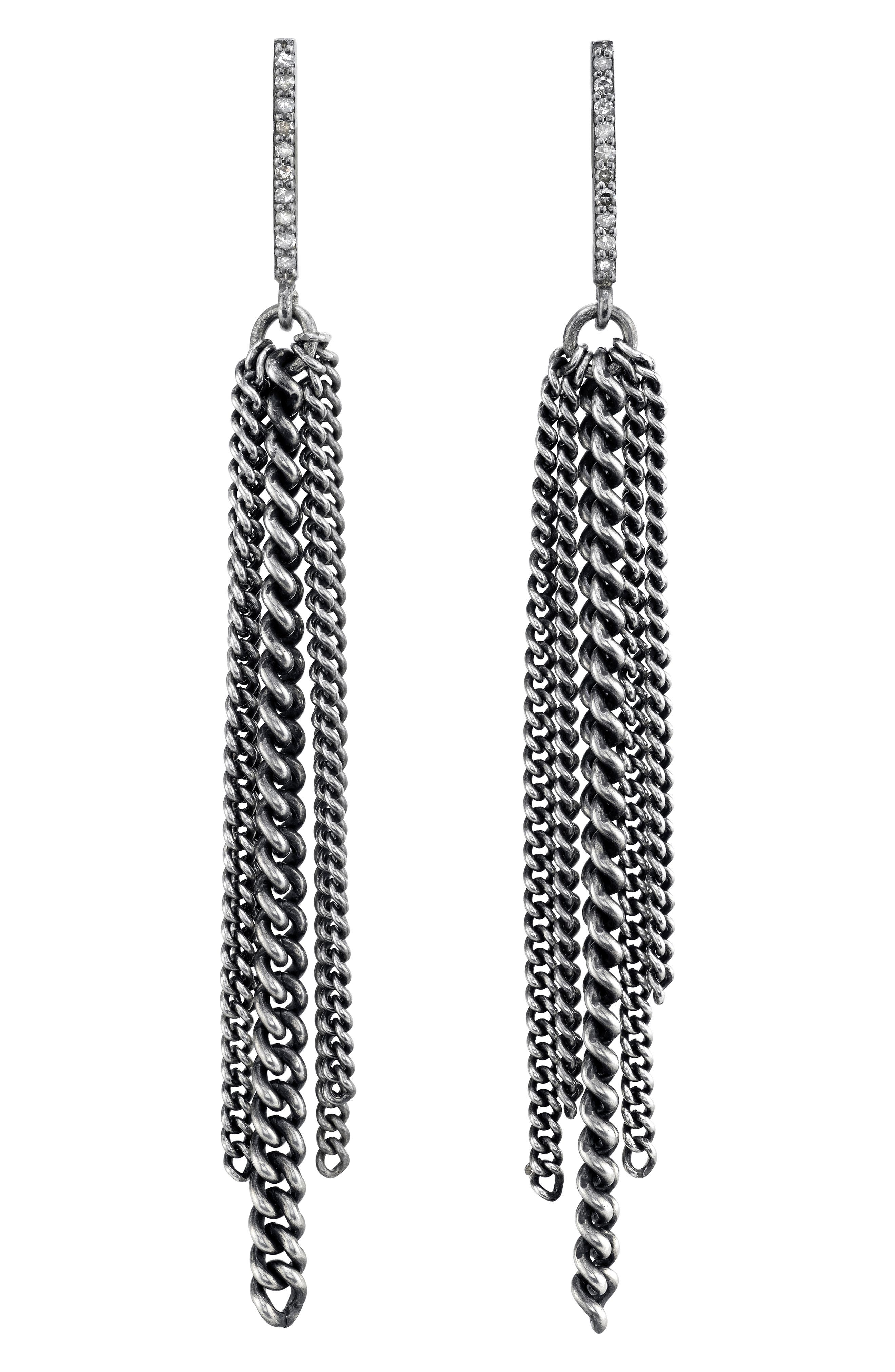 Bar Fringe Earrings With Pave Diamonds in Sterling Silver