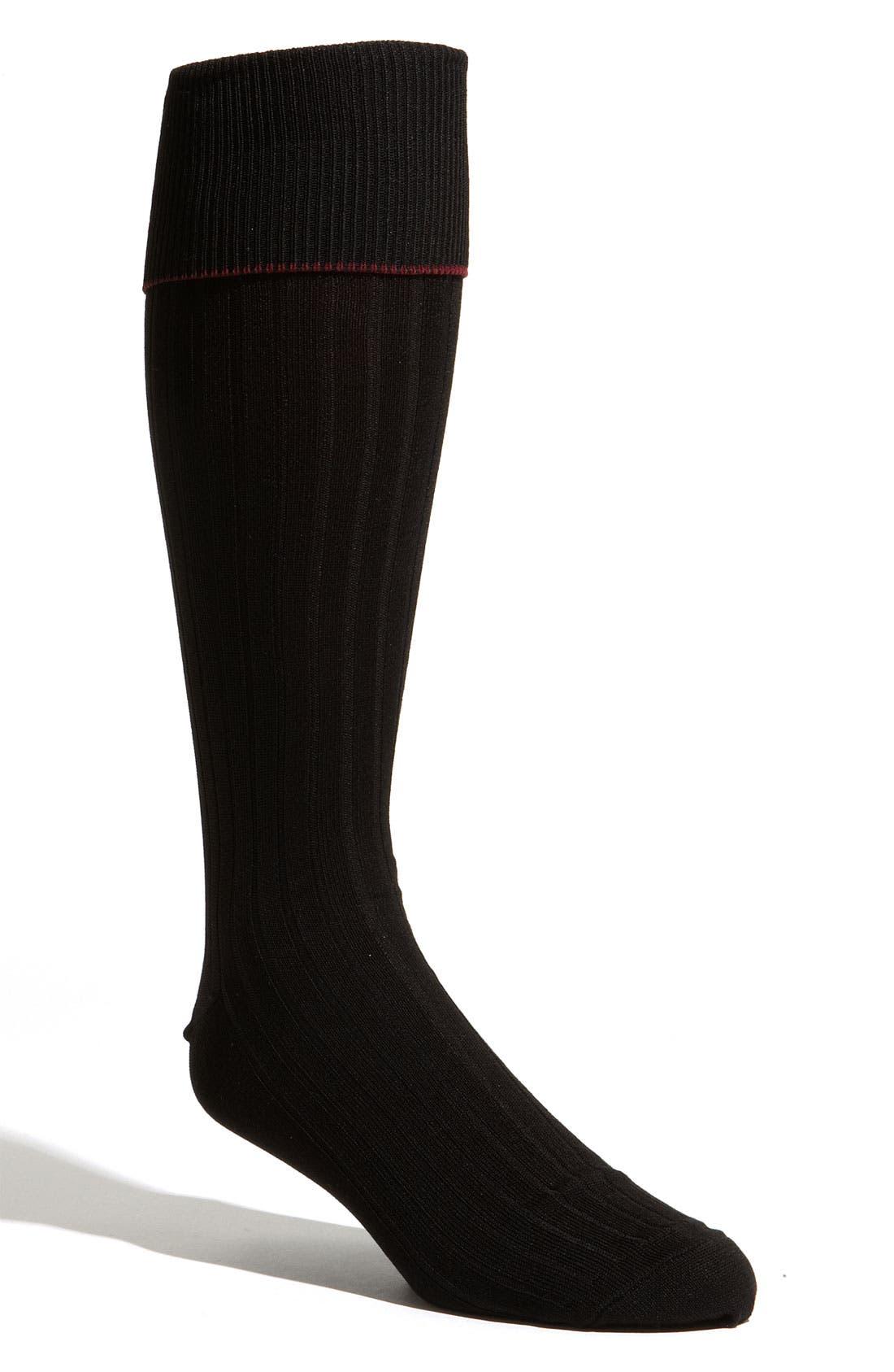 Over the Calf Cotton Blend Socks,                             Main thumbnail 1, color,                             BLACK