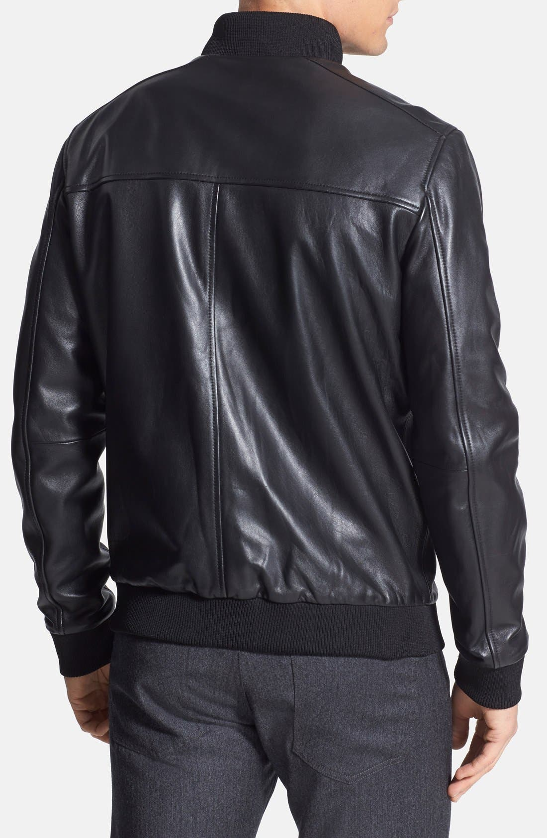'Bane' Sheepskin Leather Jacket,                             Alternate thumbnail 3, color,                             001