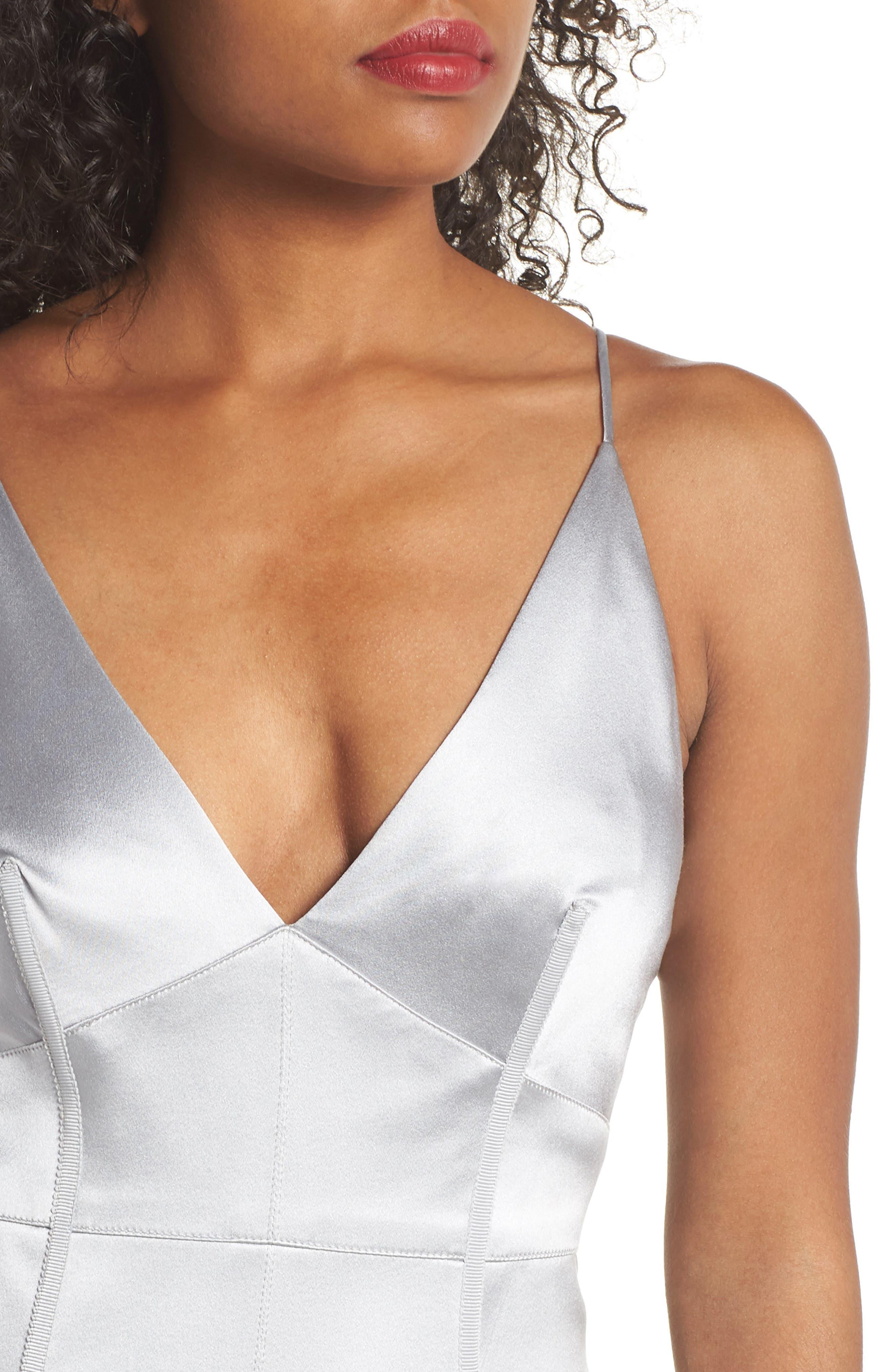 Corset Detail Satin Gown,                             Alternate thumbnail 4, color,                             MERCURY
