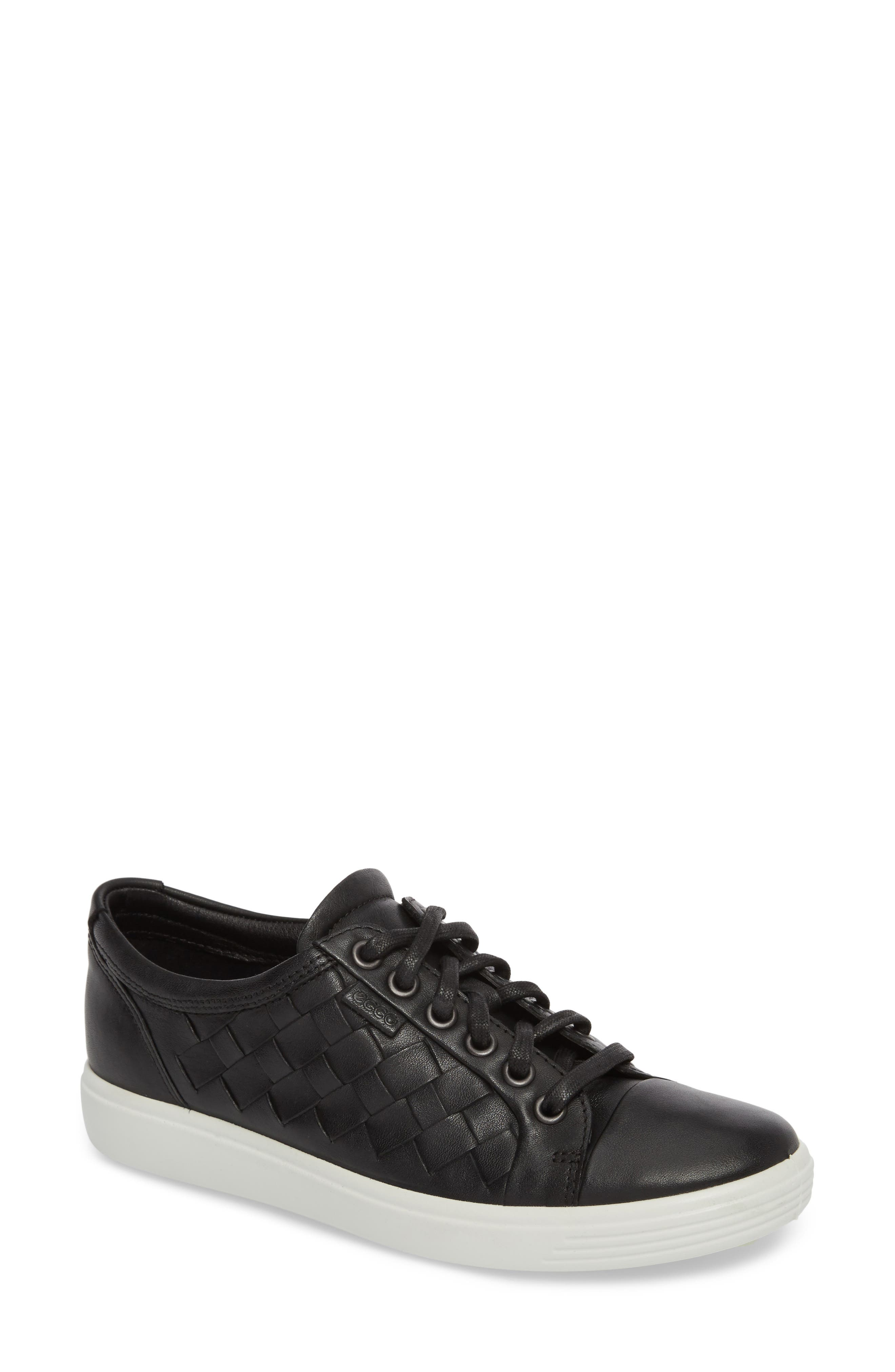 ECCO,                             Soft 7 Woven Sneaker,                             Main thumbnail 1, color,                             BLACK LEATHER
