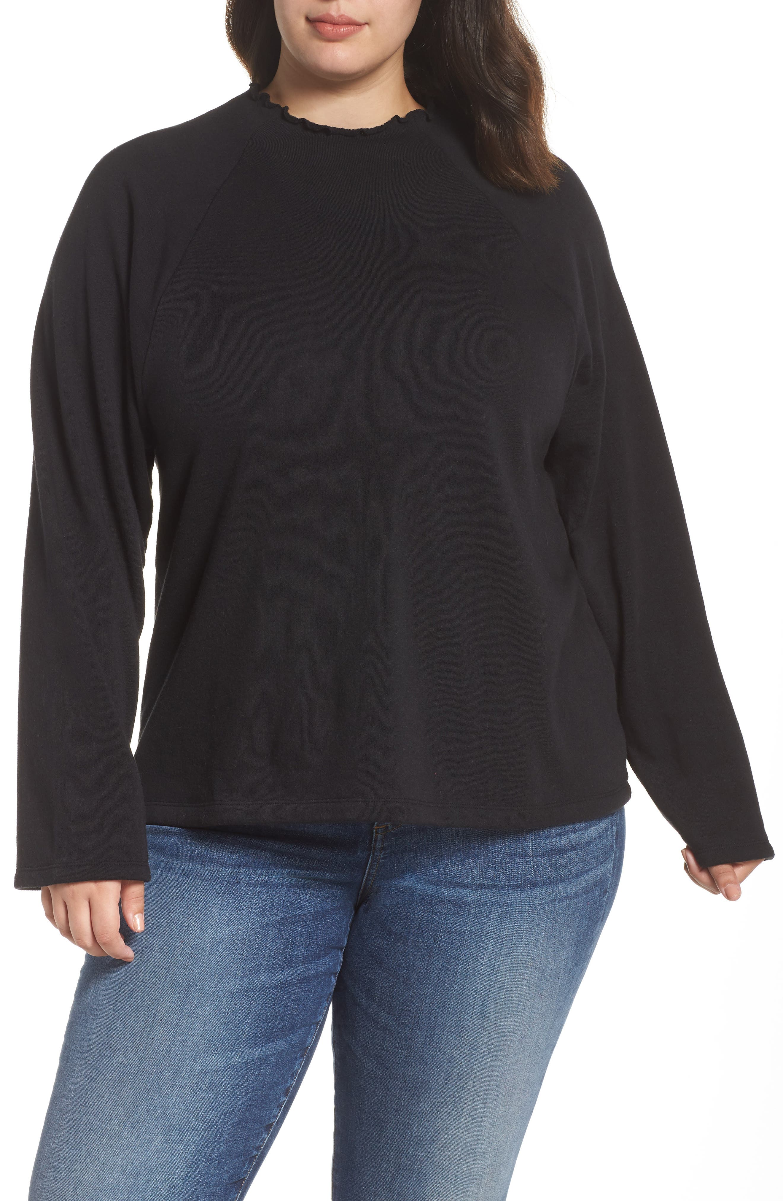 Plus Size Bp. Lettuce Edge Fleece Pullover, Black