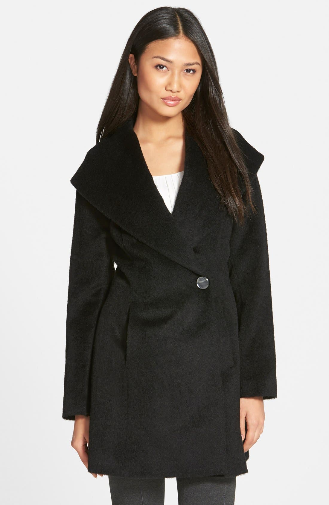 TRINA TURK,                             'Bonnie' Shawl Collar Skirted Coat,                             Main thumbnail 1, color,                             001