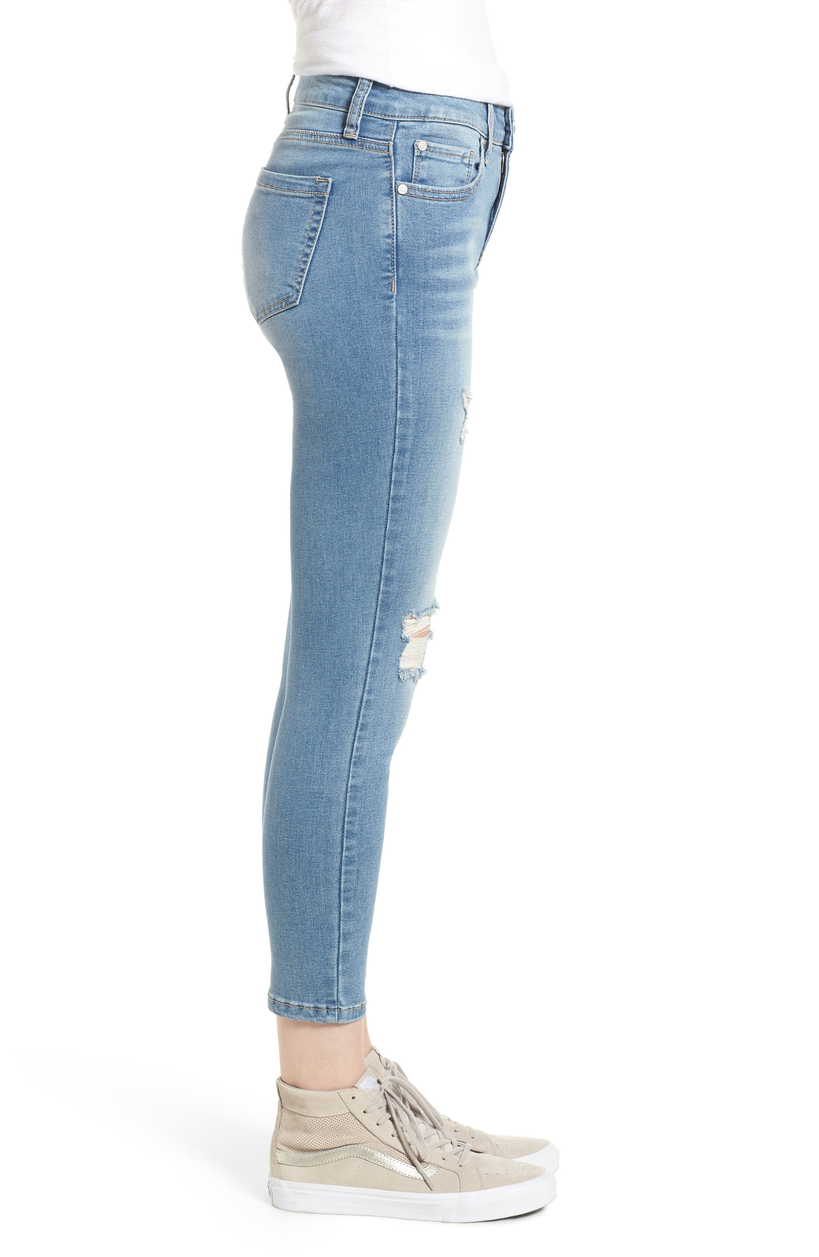 Ripped Crop Skinny Jeans,                             Alternate thumbnail 3, color,                             LUCAS