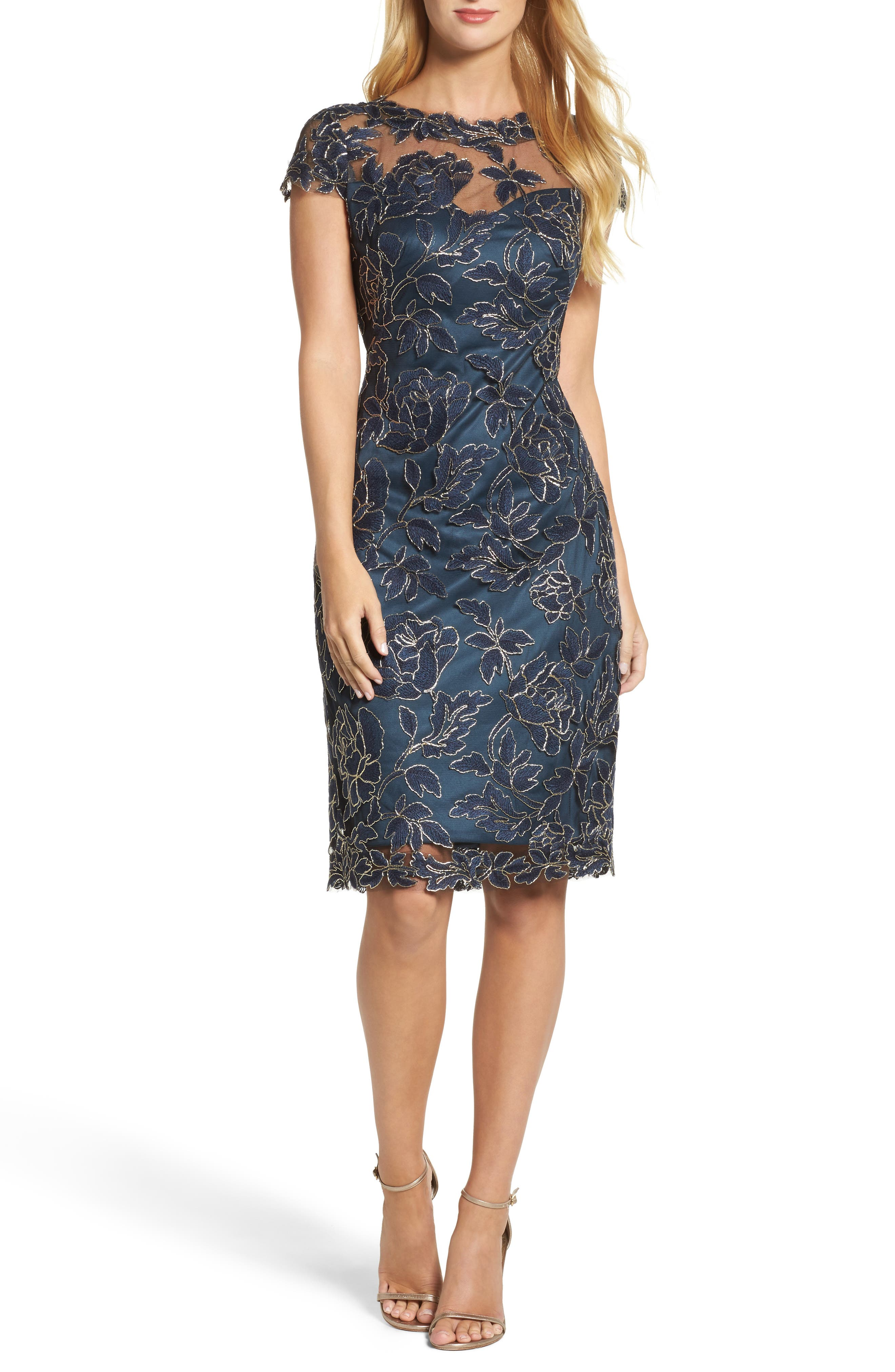 Embroidered Mesh Sheath Dress,                             Main thumbnail 1, color,