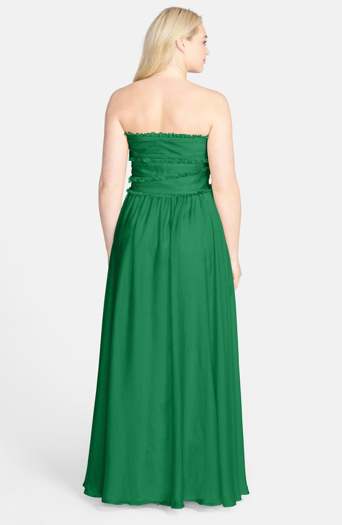 ML Monique Lhuillier Bridesmaids Strapless Chiffon Gown,                             Alternate thumbnail 50, color,
