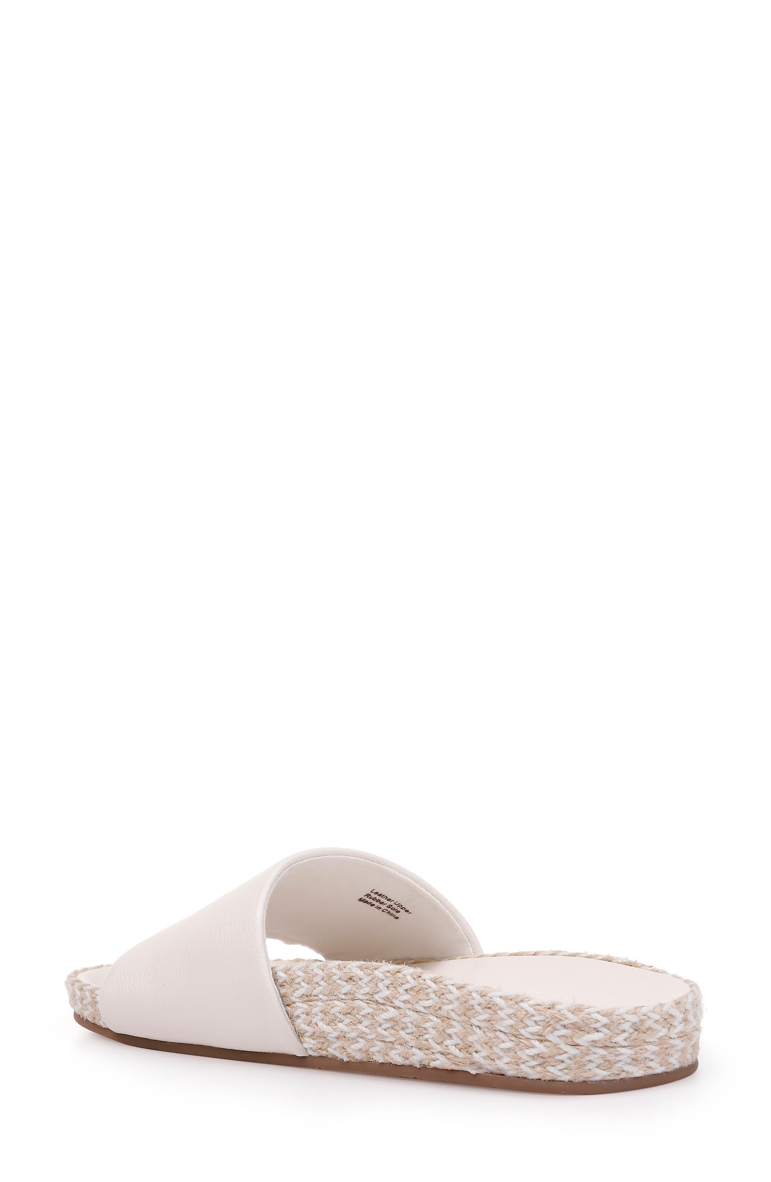 Sandford Espadrille Slide Sandal,                             Alternate thumbnail 2, color,                             OFF WHITE LEATHER