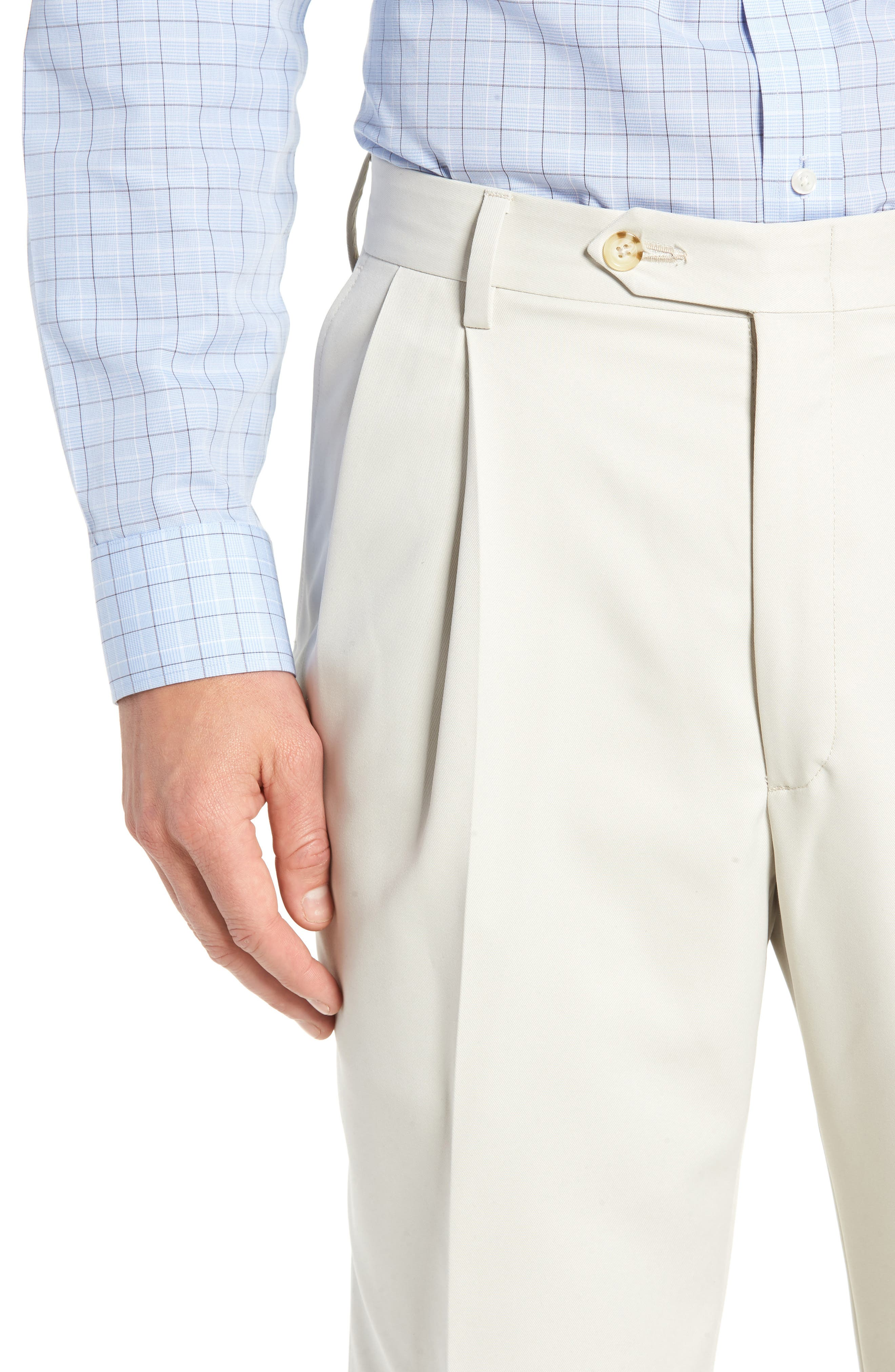 BERLE,                             Classic Fit Pleated Microfiber Performance Trousers,                             Alternate thumbnail 4, color,                             GREY