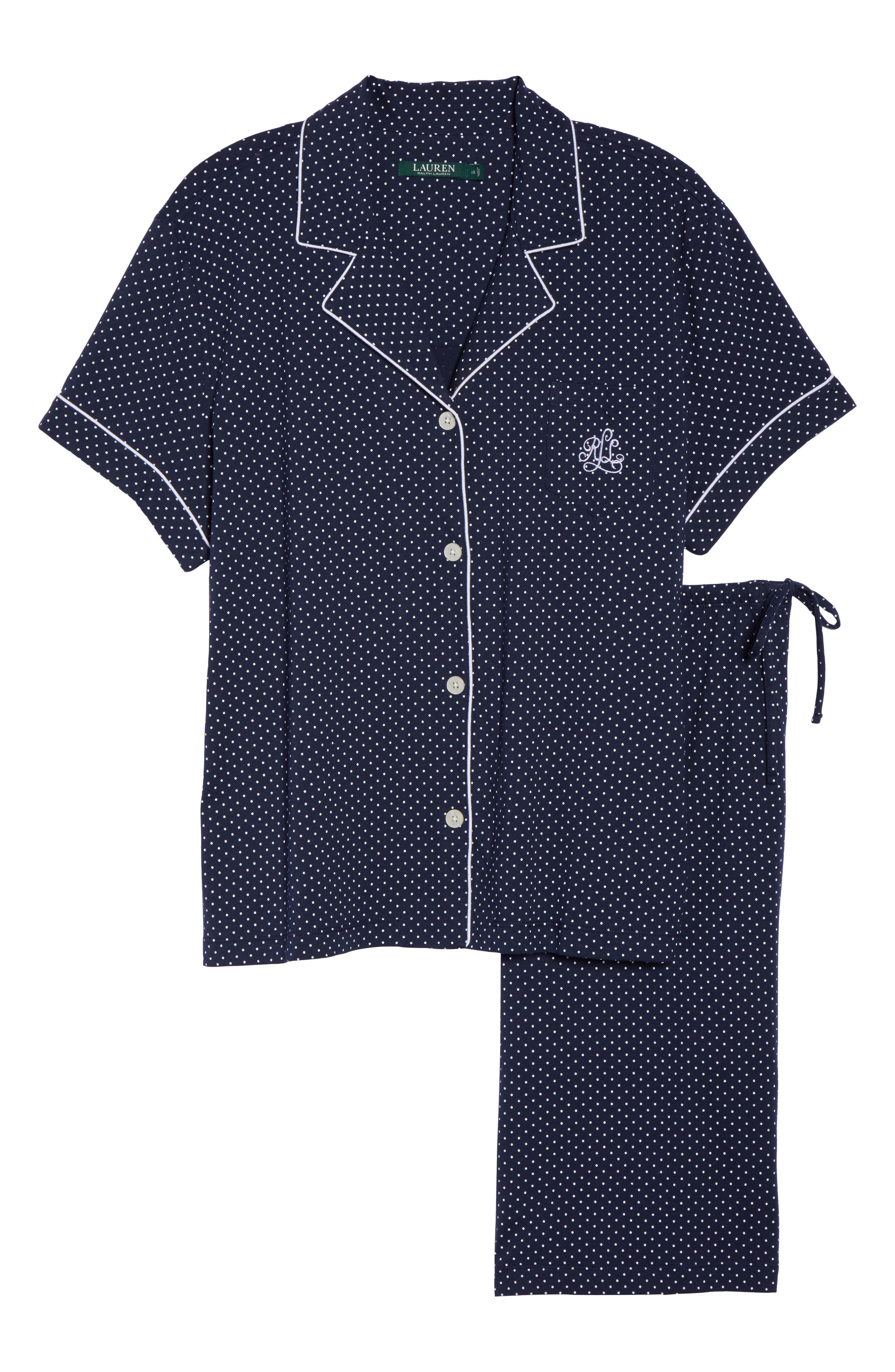 LAUREN RALPH LAUREN,                             Bermuda Pajamas,                             Alternate thumbnail 6, color,                             NAVY DOT