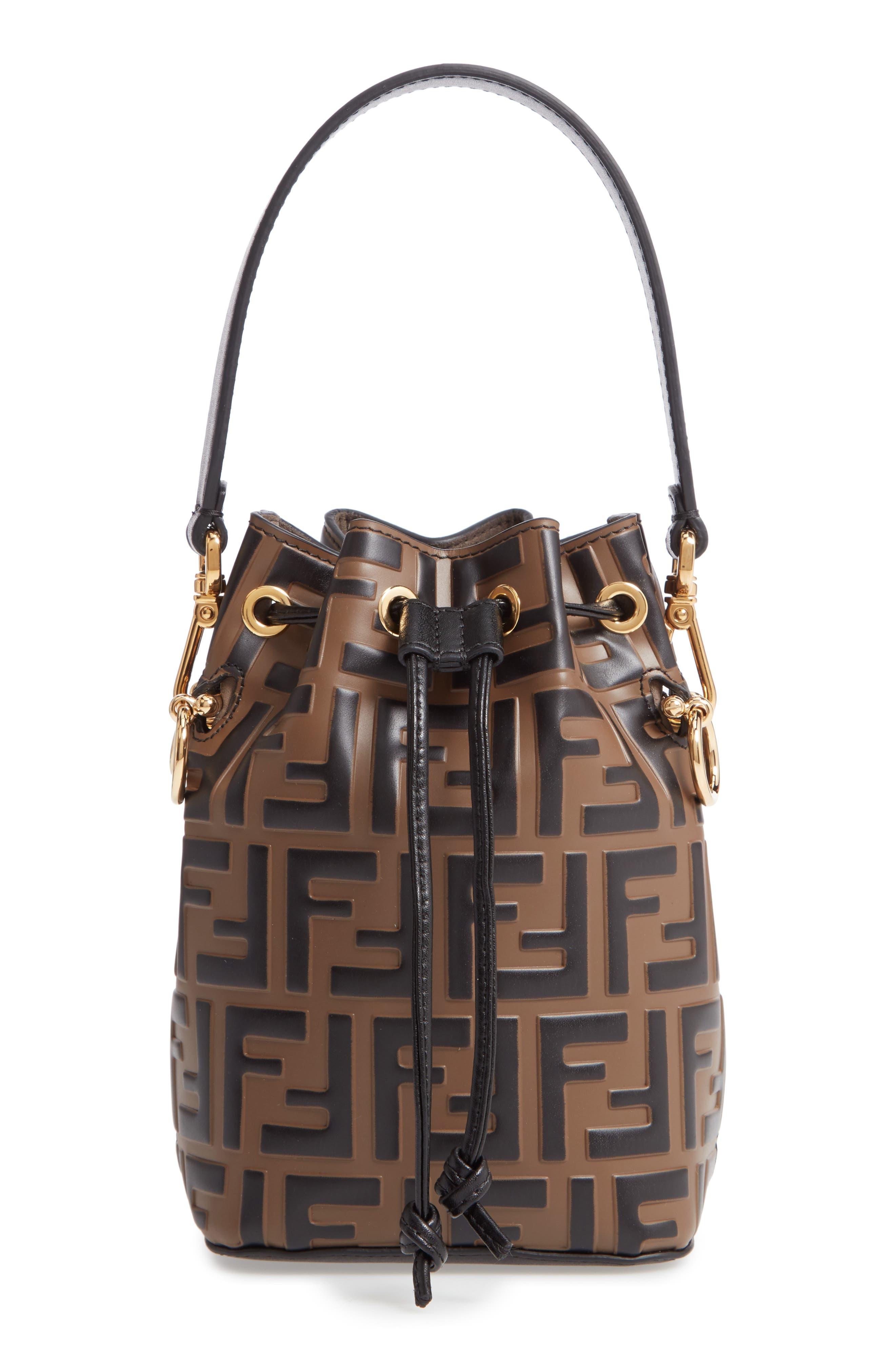 Mini Mon Tresor Logo Calfskin Leather Bucket Bag by Fendi