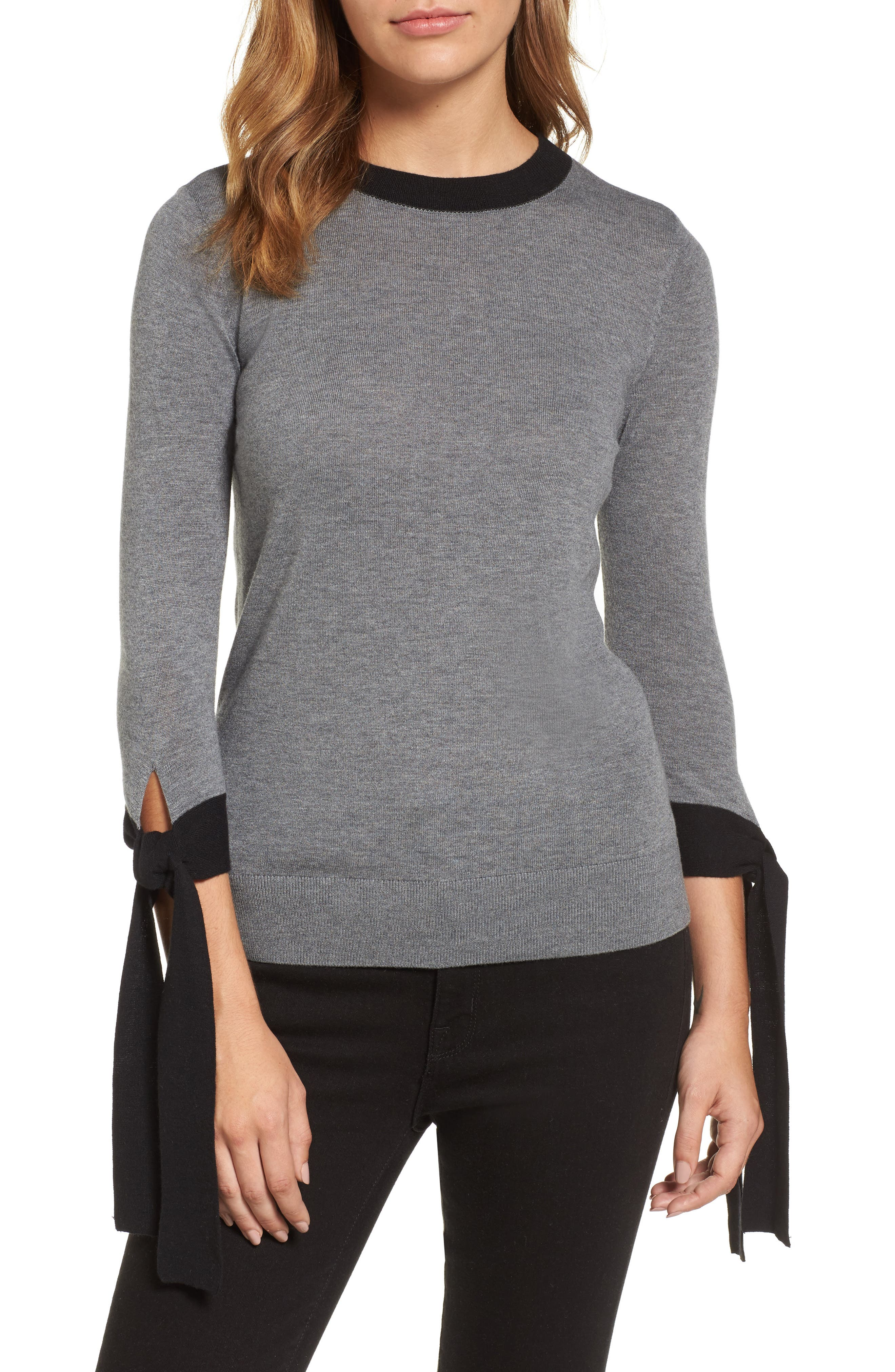 Tie Sleeve Crewneck Sweater,                             Main thumbnail 1, color,                             GREY- BLACK COLORBLOCK