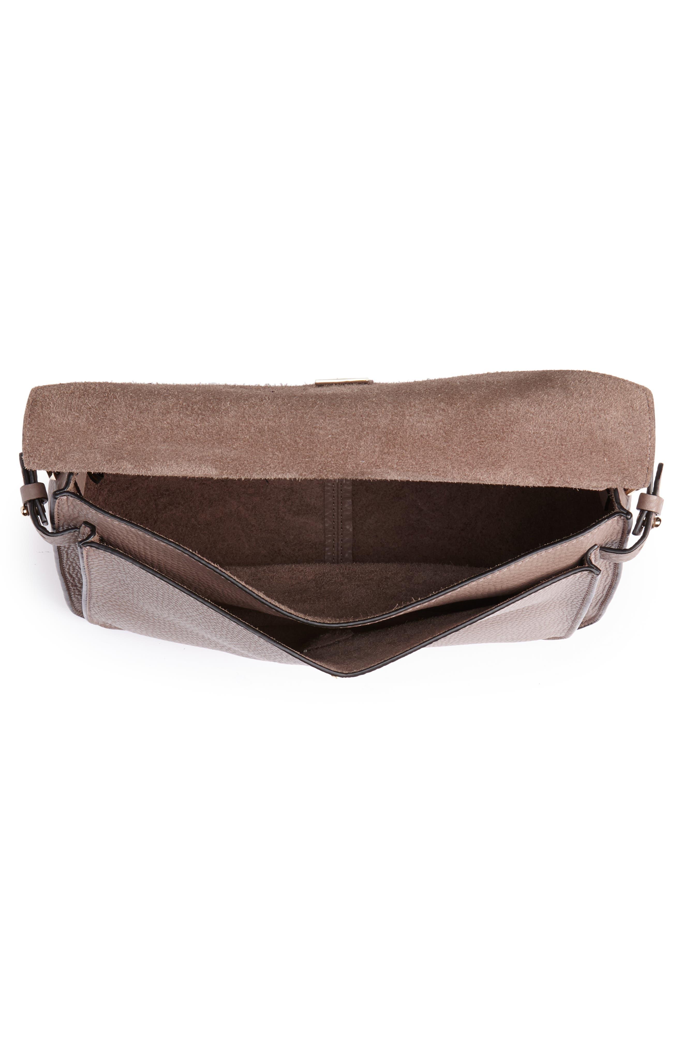 Darren Leather Messenger Bag,                             Alternate thumbnail 4, color,                             MINK
