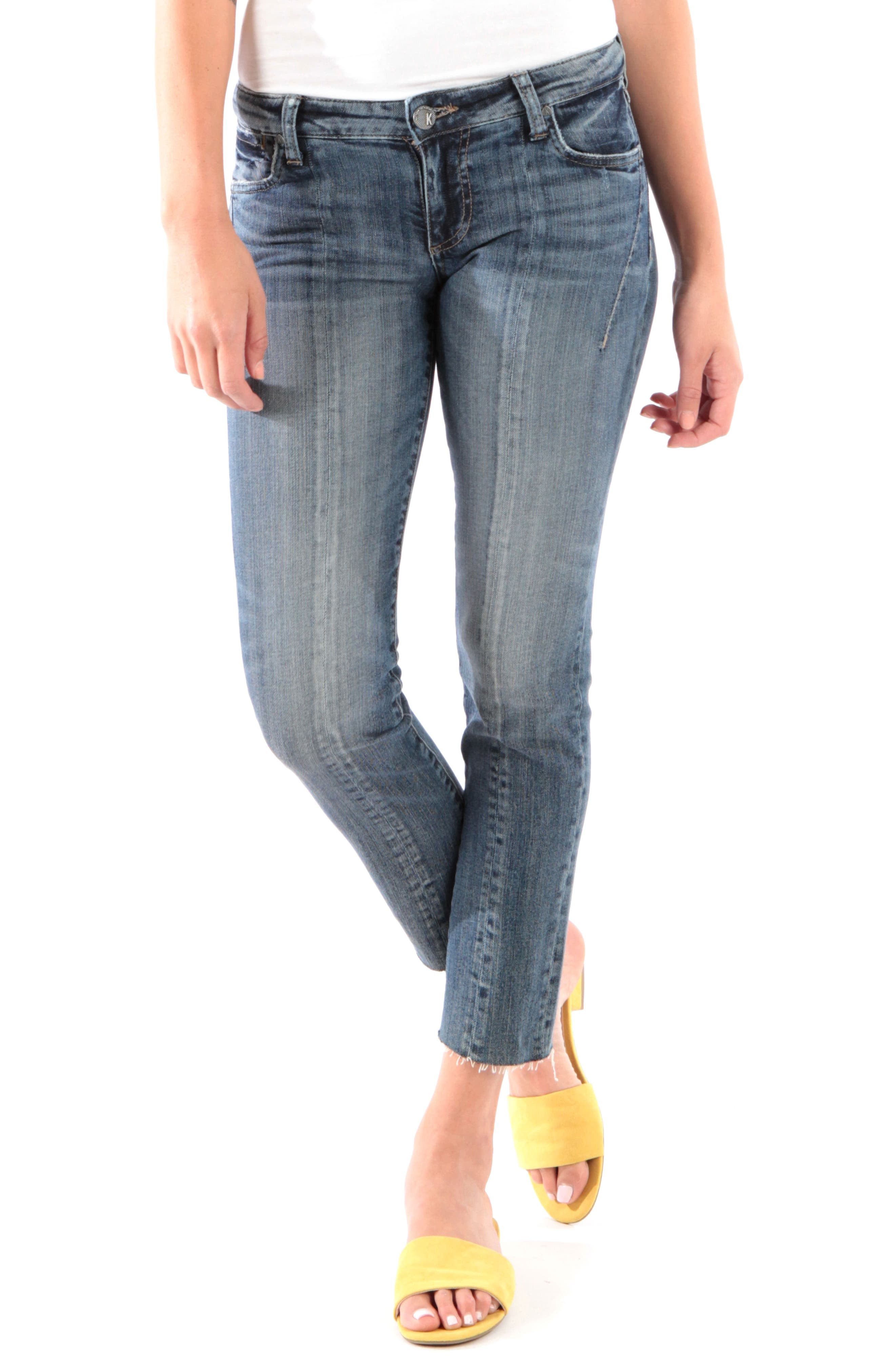 Kut From The Kloth Catherine Raw Hem Ankle Straight Leg Jeans, Blue