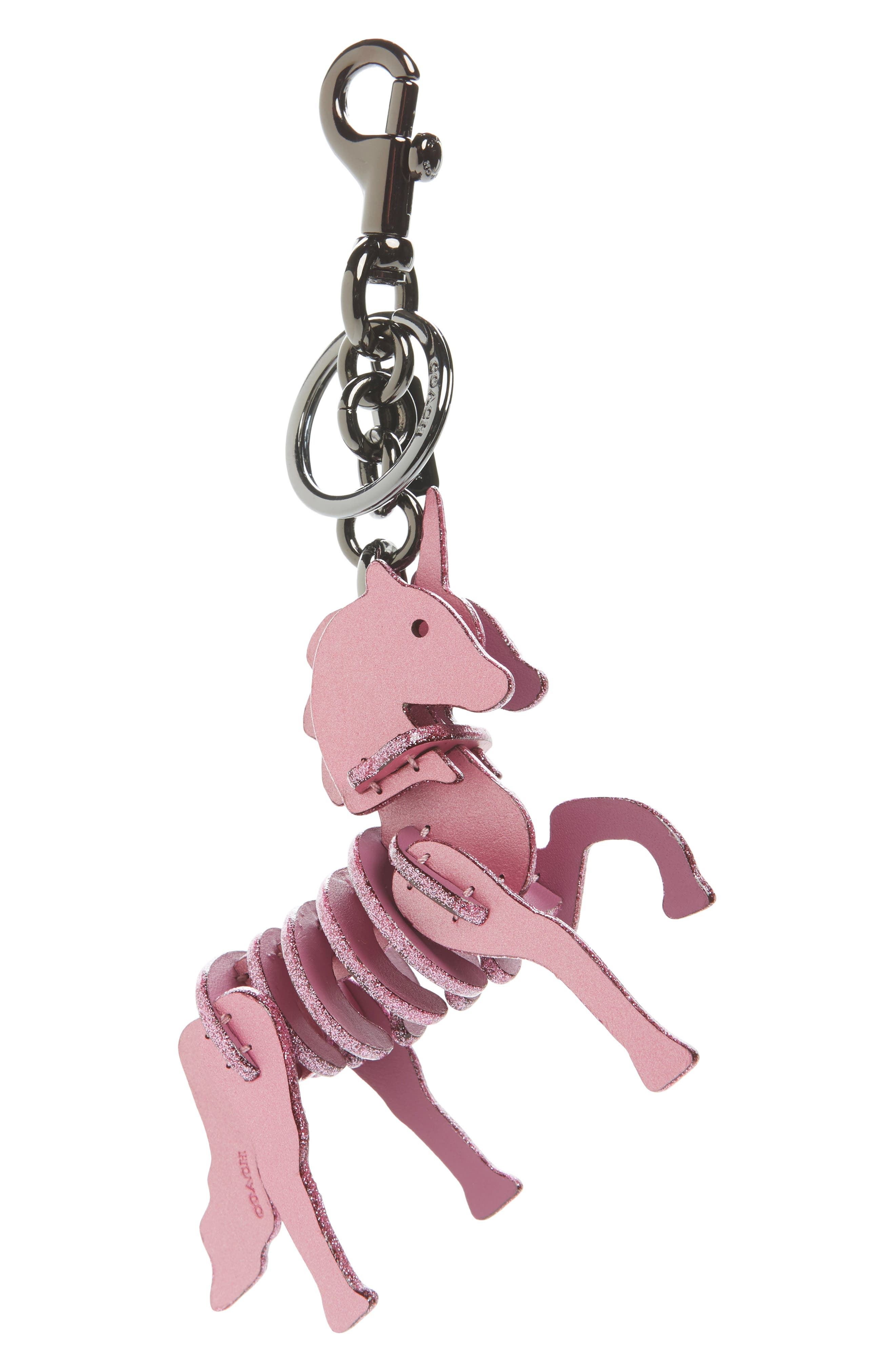 Small Unicorn Leather Bag Charm,                         Main,                         color,
