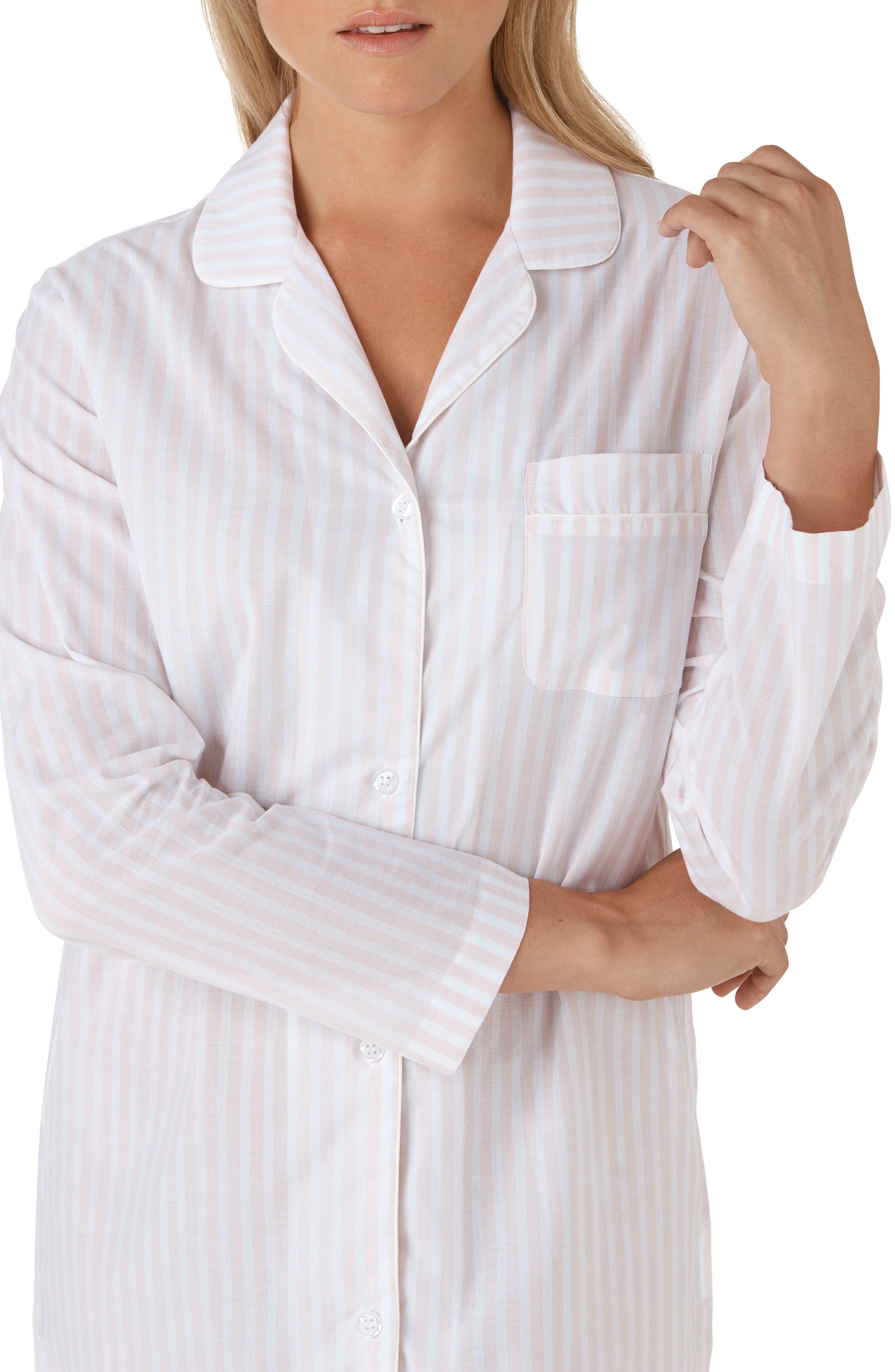 Stripe Cotton Sleep Shirt,                             Alternate thumbnail 4, color,                             PINK / WHITE STRIPE