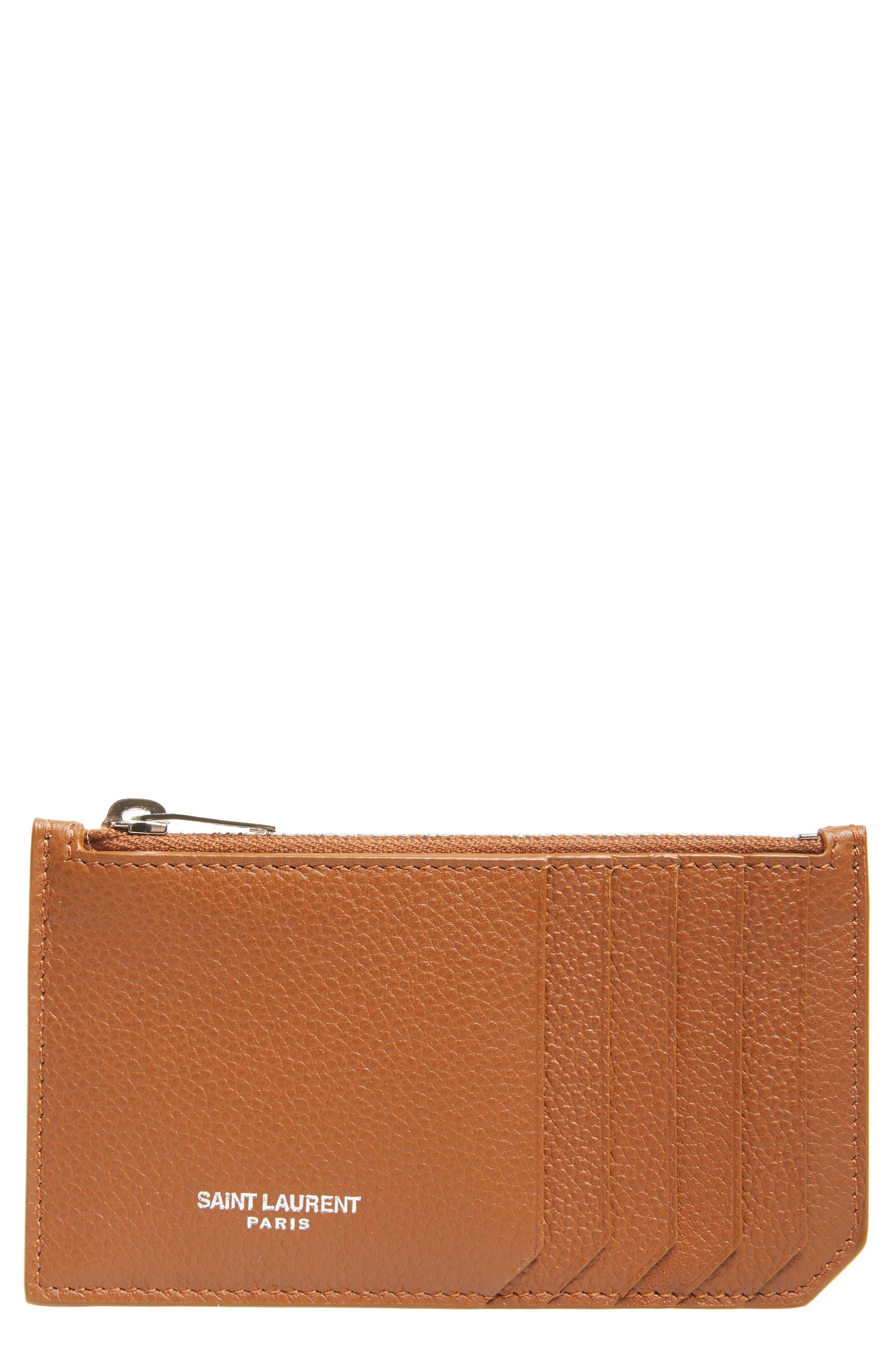 Leather Zip Wallet,                             Main thumbnail 1, color,                             FAUVE