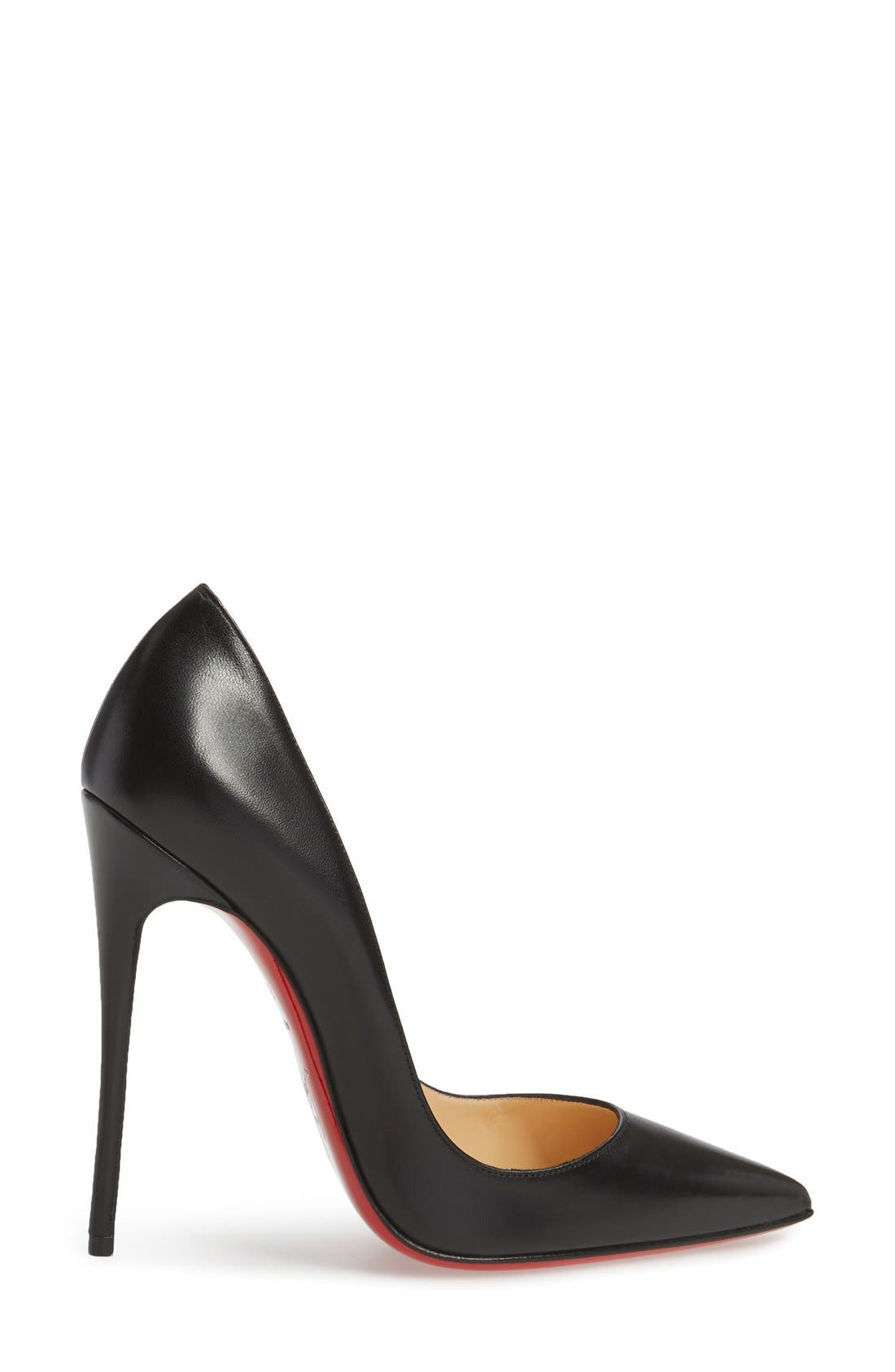 'So Kate' Pointy Toe Leather Pump,                             Alternate thumbnail 5, color,                             001