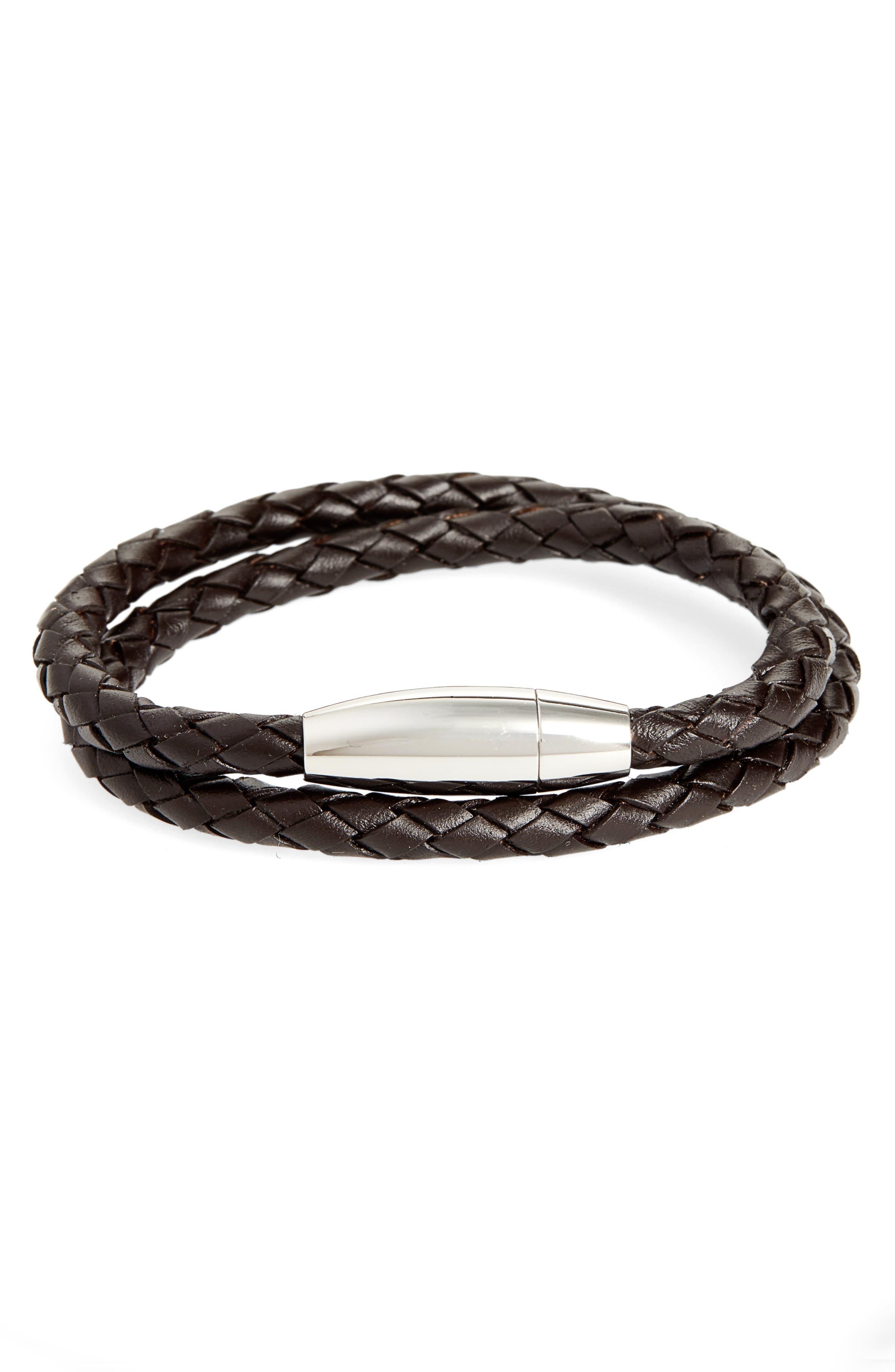 Braided Leather Wrap Bracelet,                             Main thumbnail 1, color,                             BROWN