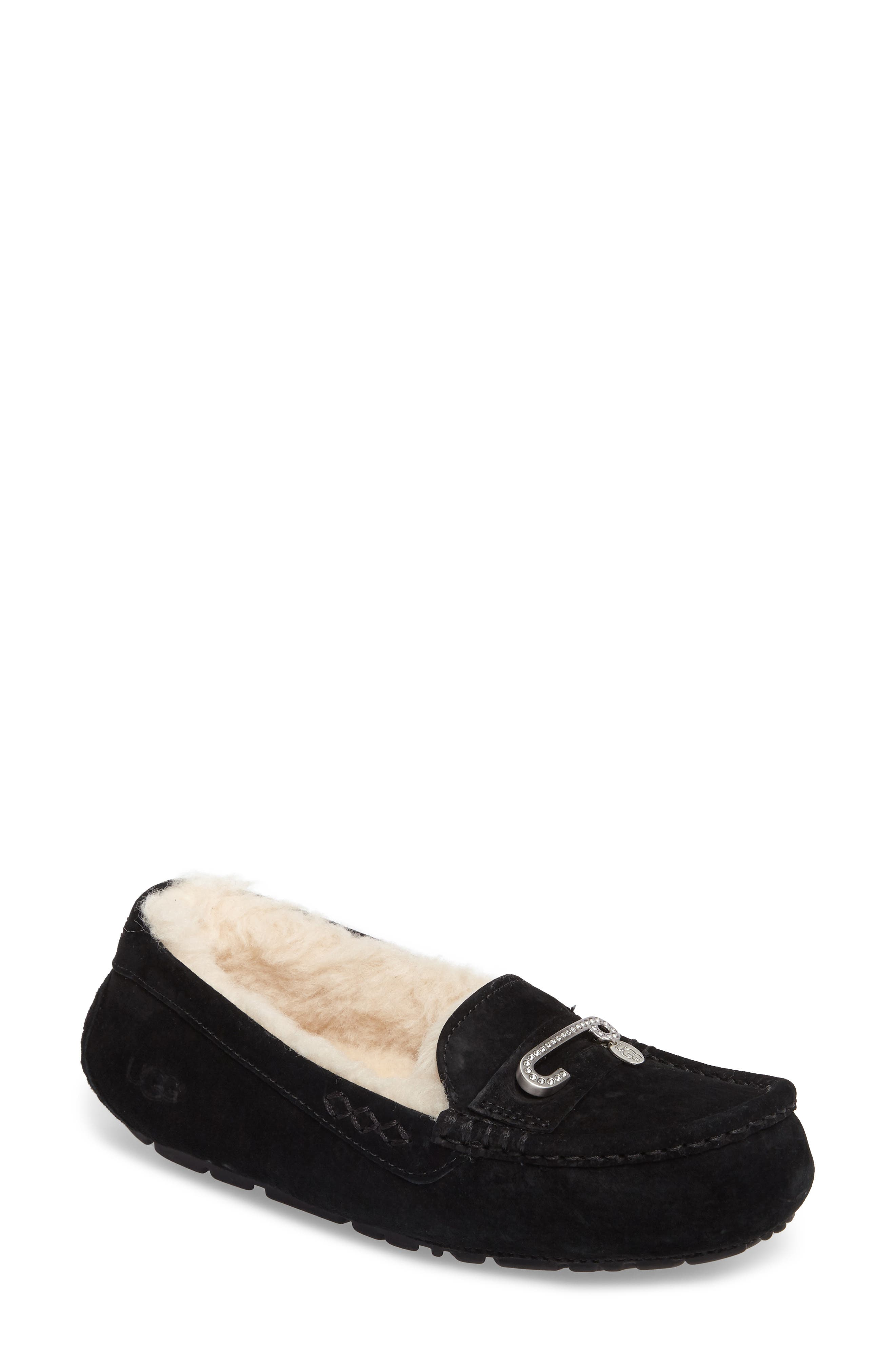 Florencia Water Resistant Silkee<sup>™</sup> Suede Slipper,                             Main thumbnail 1, color,                             001