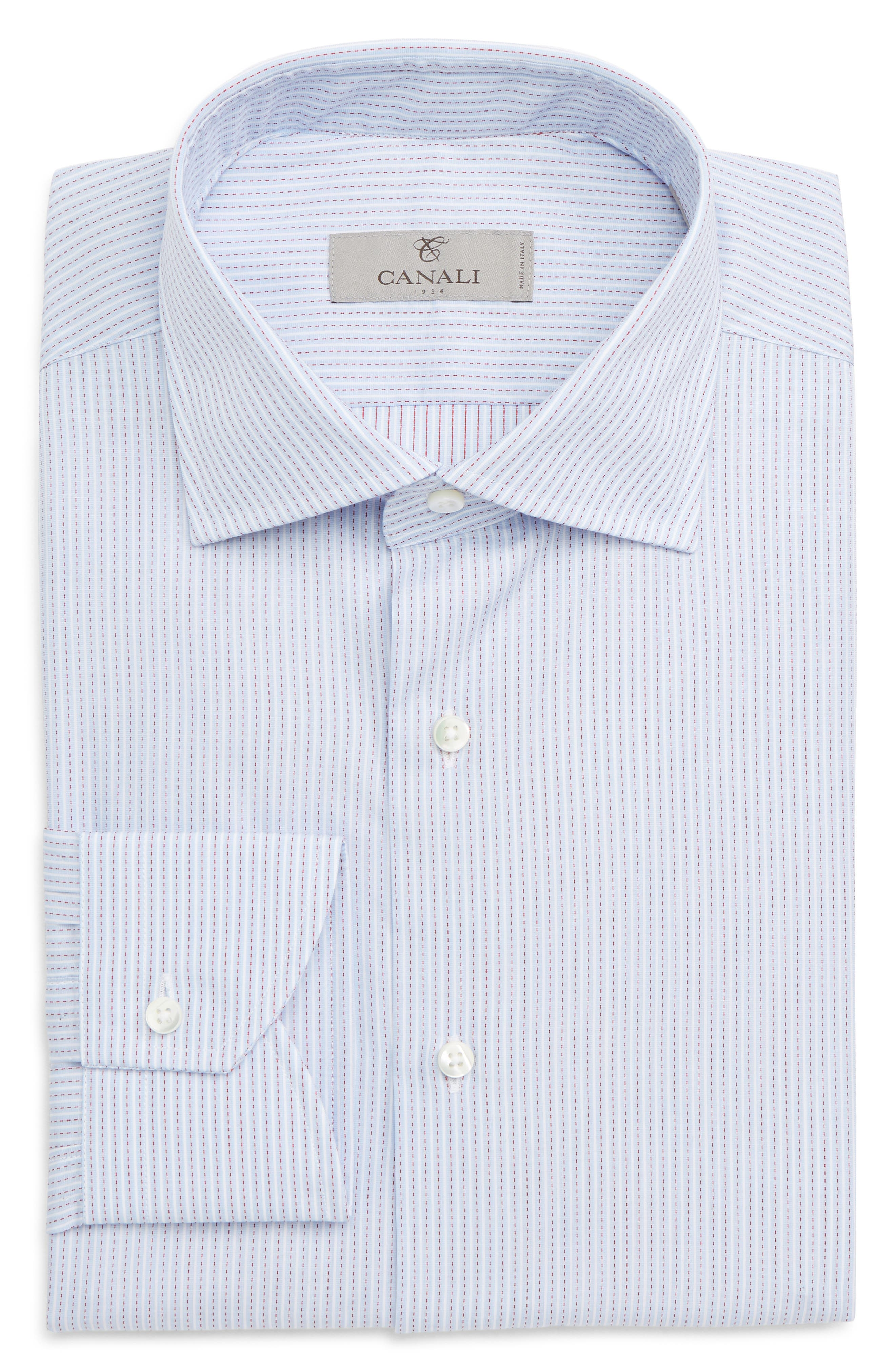 Trim Fit Stripe Dress Shirt,                             Alternate thumbnail 6, color,                             MED BLUE