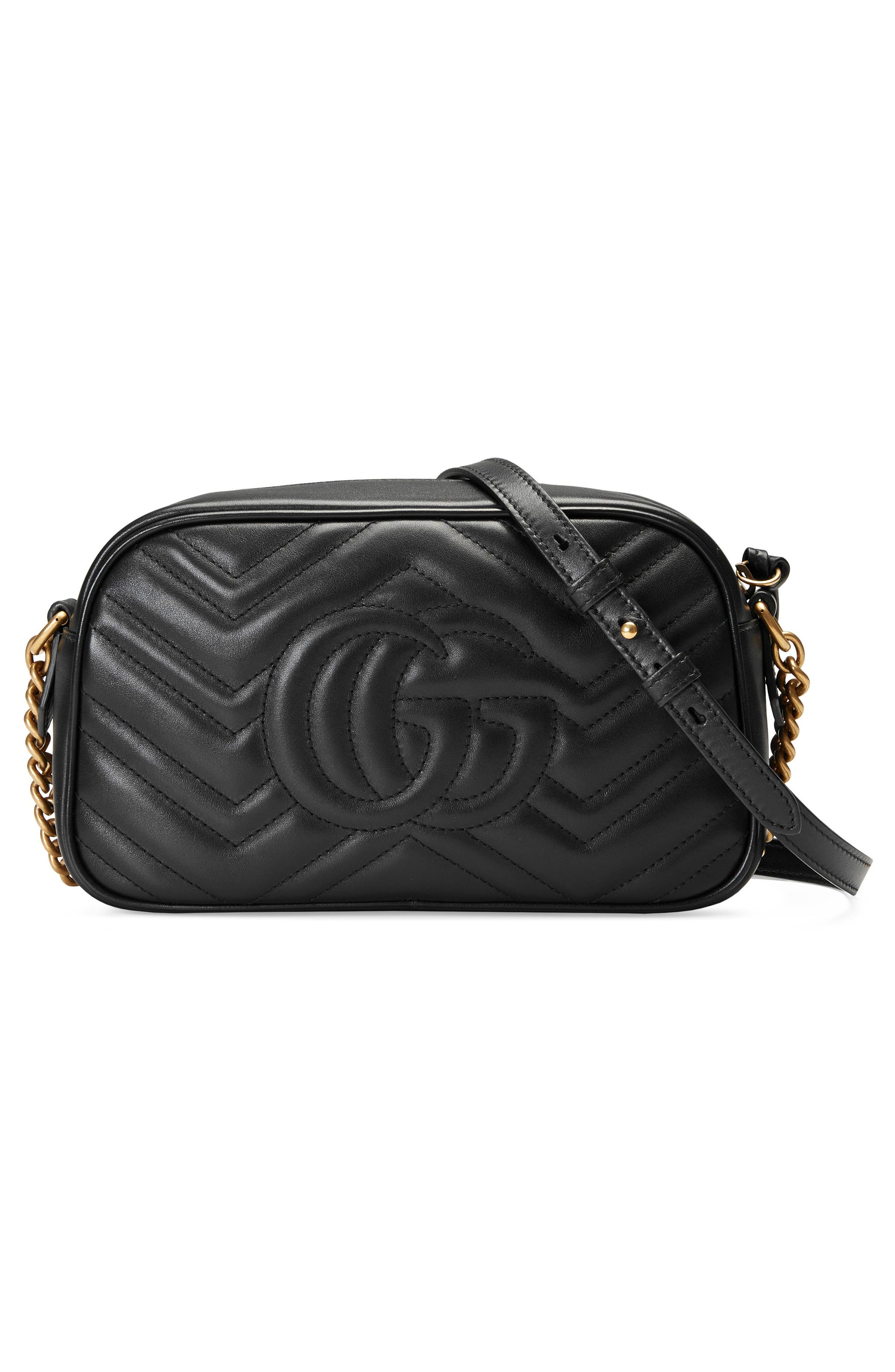 Small GG Marmont 2.0 Matelassé Leather Camera Bag,                             Alternate thumbnail 2, color,                             NERO/ NERO