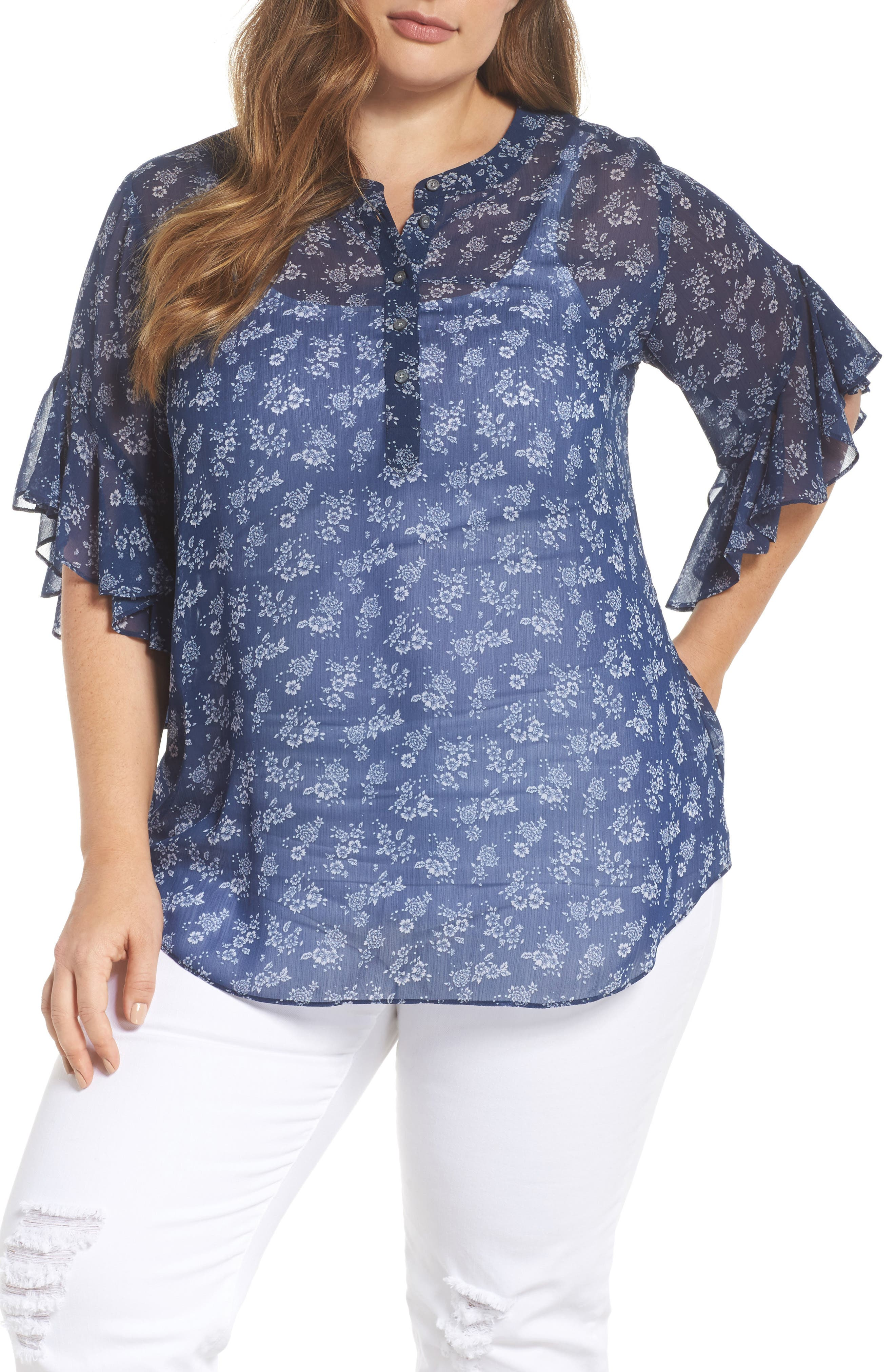 Calico Flutter Sleeve Henley Top,                             Main thumbnail 1, color,                             HIGH TIDE