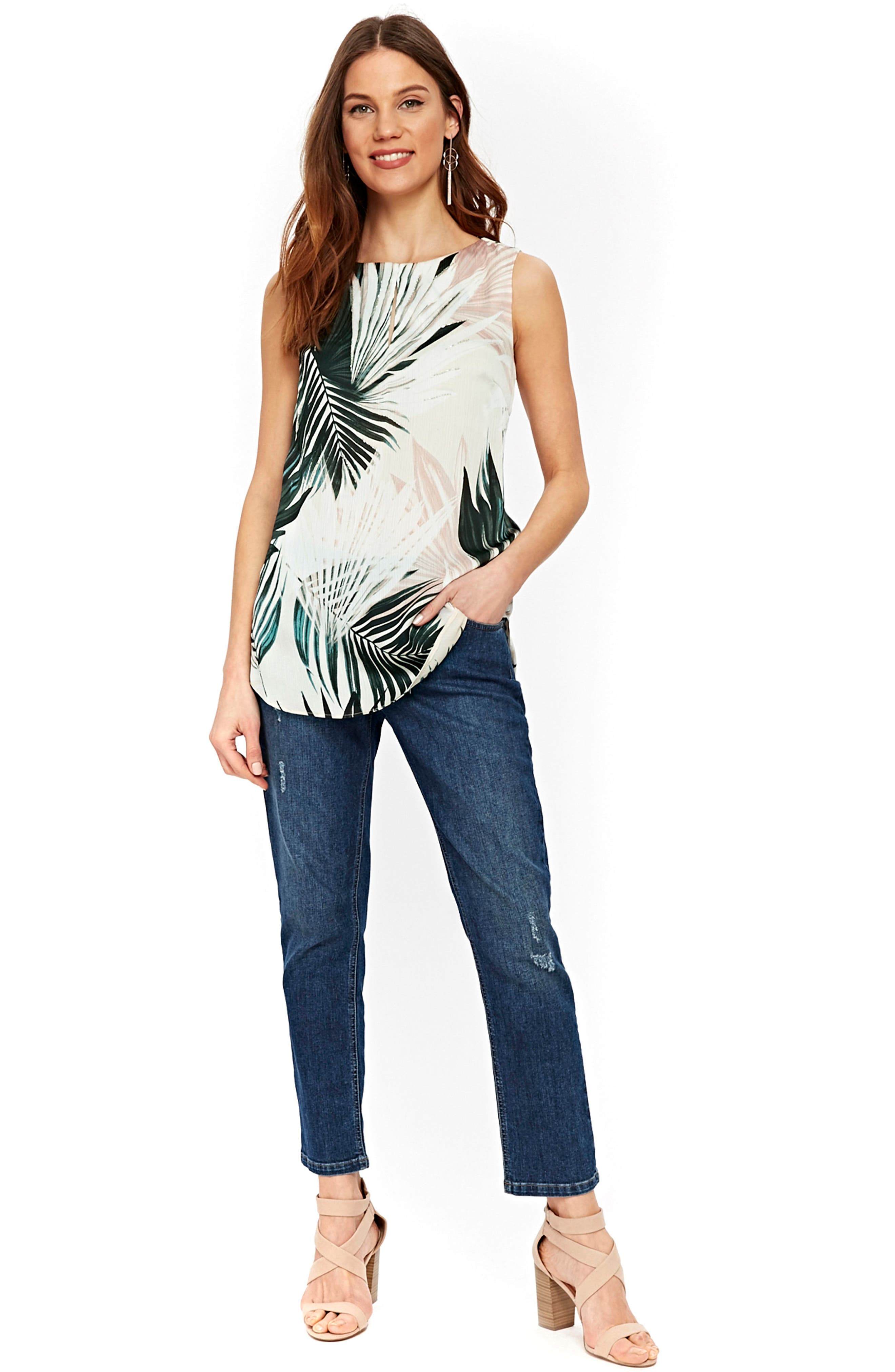 Twinkle Palm Satin Shell Top,                             Alternate thumbnail 5, color,                             CREAM