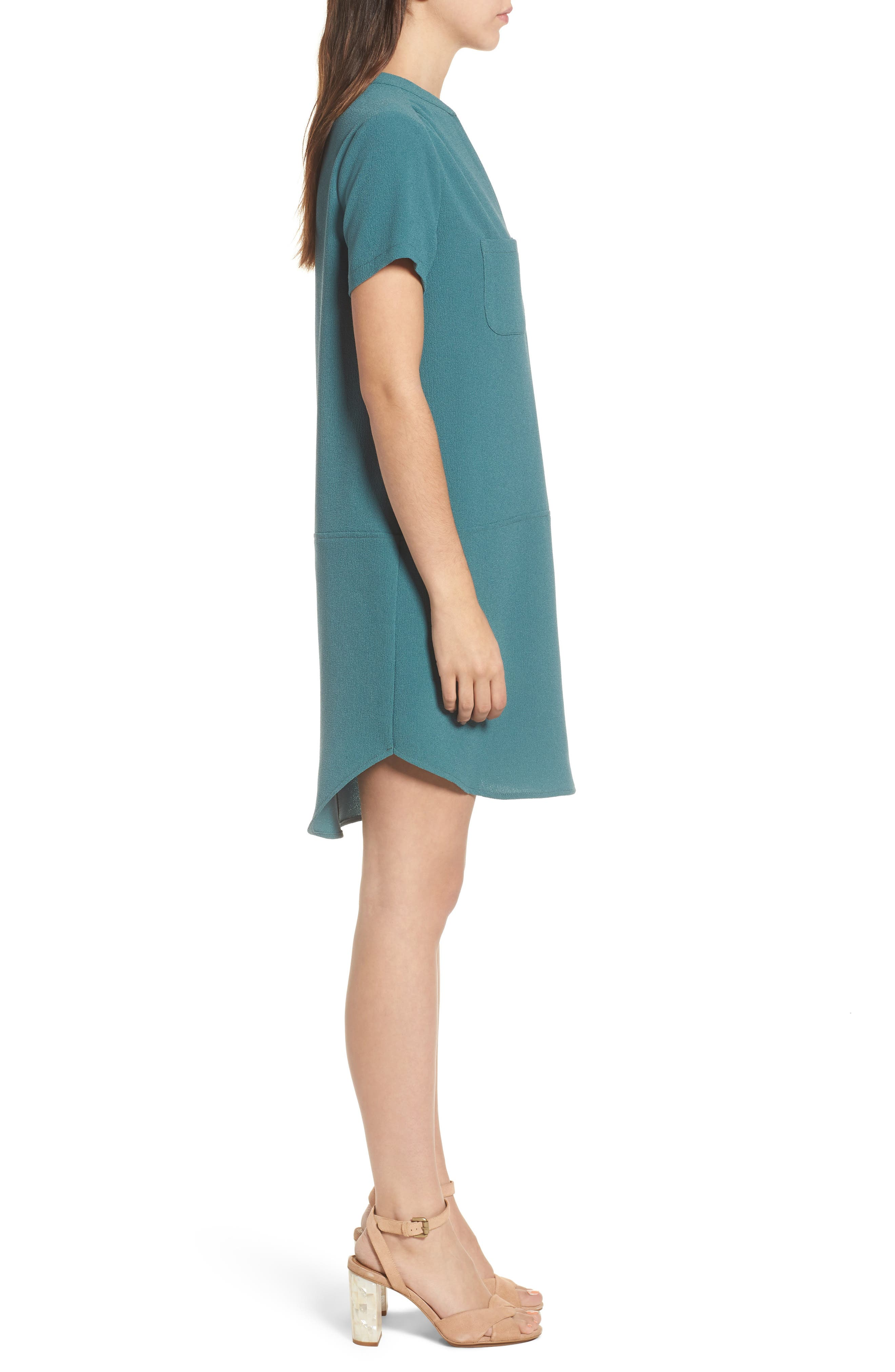 Hailey Crepe Dress,                             Alternate thumbnail 3, color,                             HYDRO TEAL