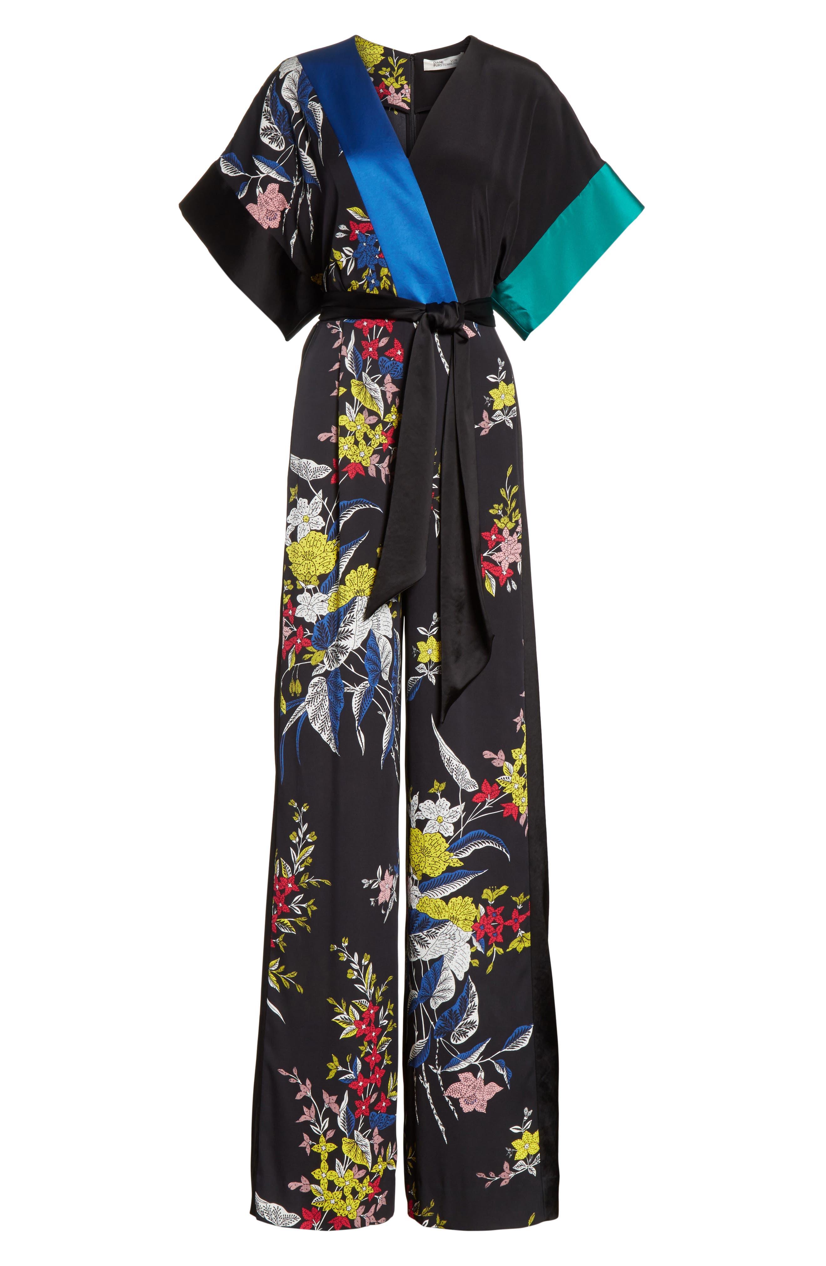 Diane von Furstenberg Faux Wrap Colorblock Silk Jumpsuit,                             Alternate thumbnail 6, color,