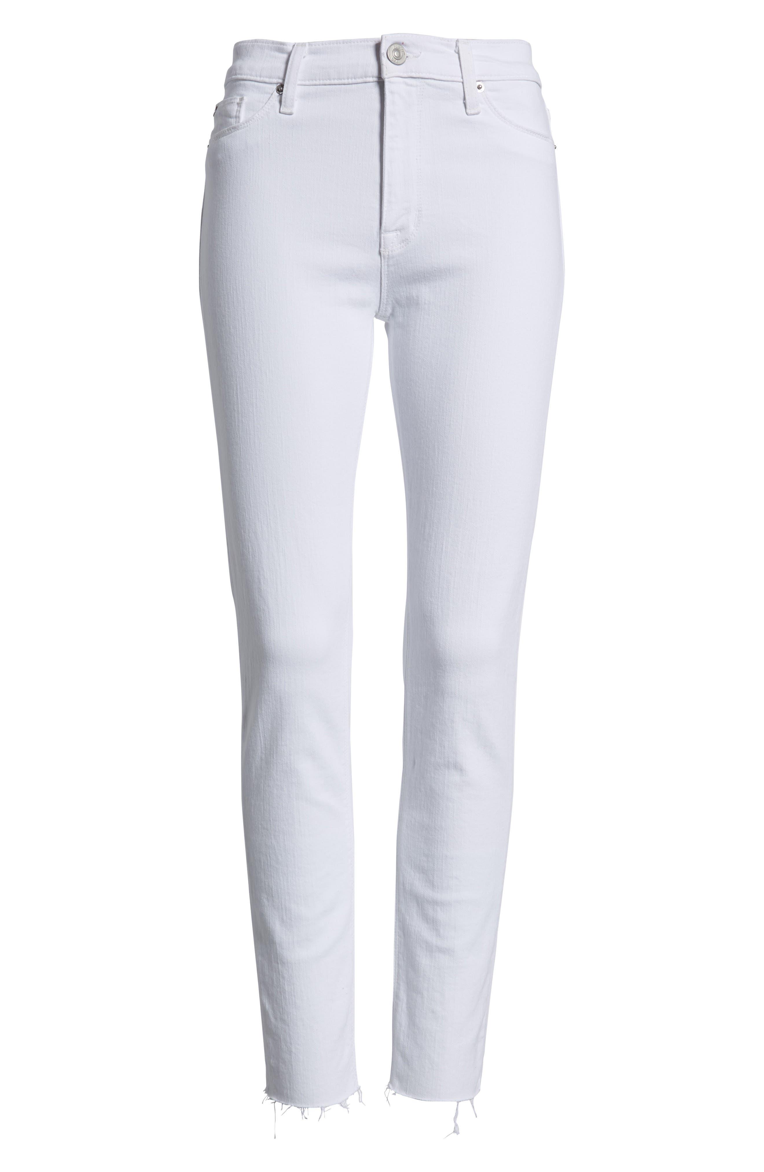 Barbara High Waist Raw Hem Ankle Skinny Jeans,                             Alternate thumbnail 7, color,                             110