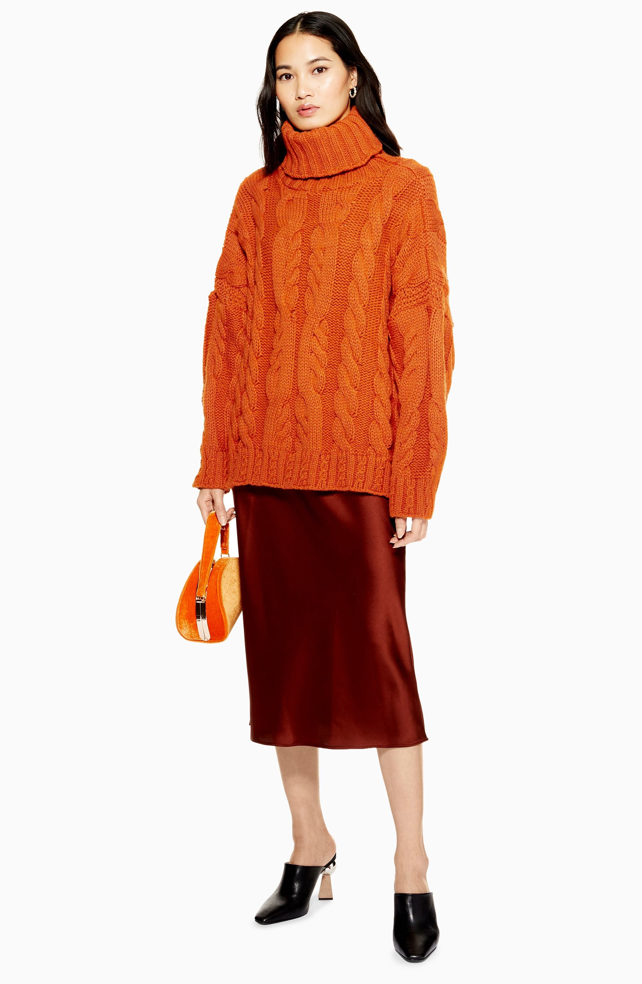 TOPSHOP,                             Chunky Cable Turtleneck Sweater,                             Alternate thumbnail 4, color,                             BROWN