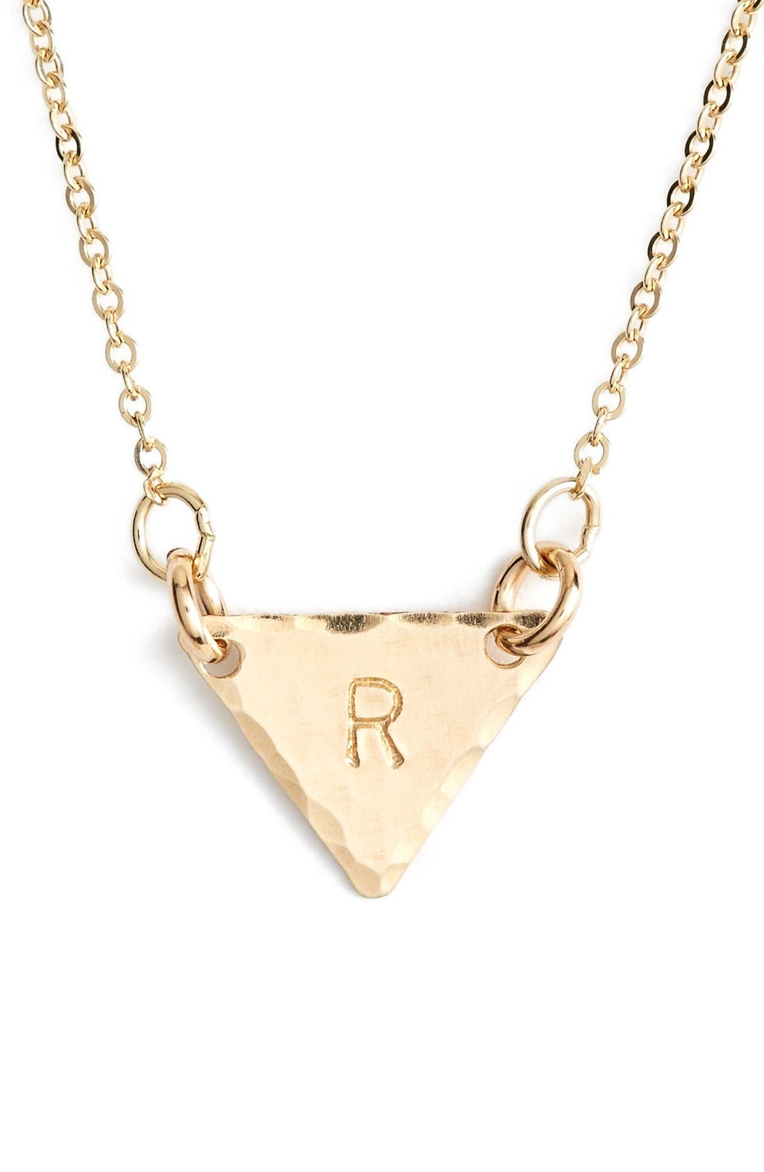14k-Gold Fill Initial Triangle Necklace,                             Main thumbnail 18, color,