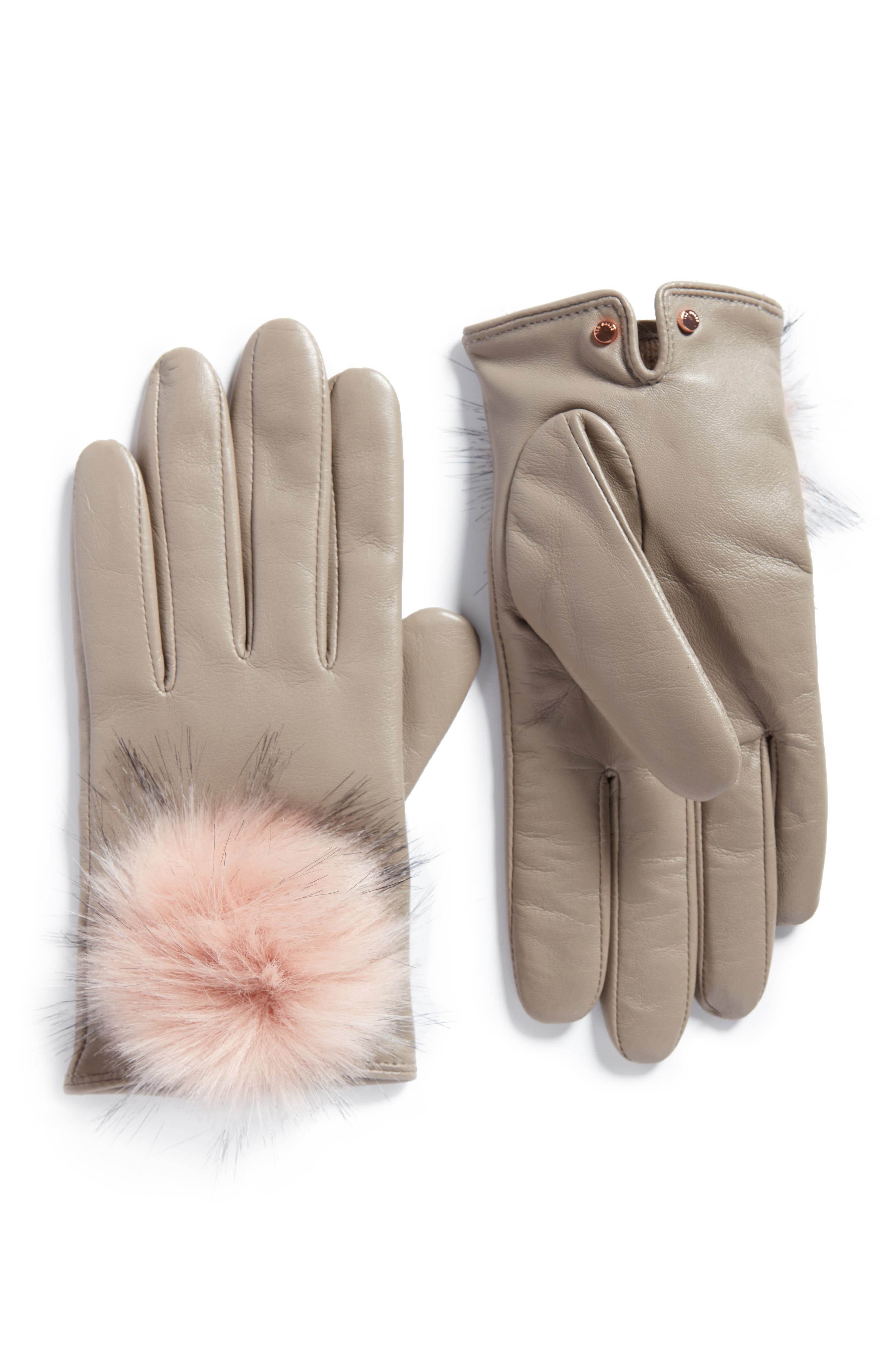 Pomi Faux Fur Pompom Leather Gloves,                             Main thumbnail 1, color,