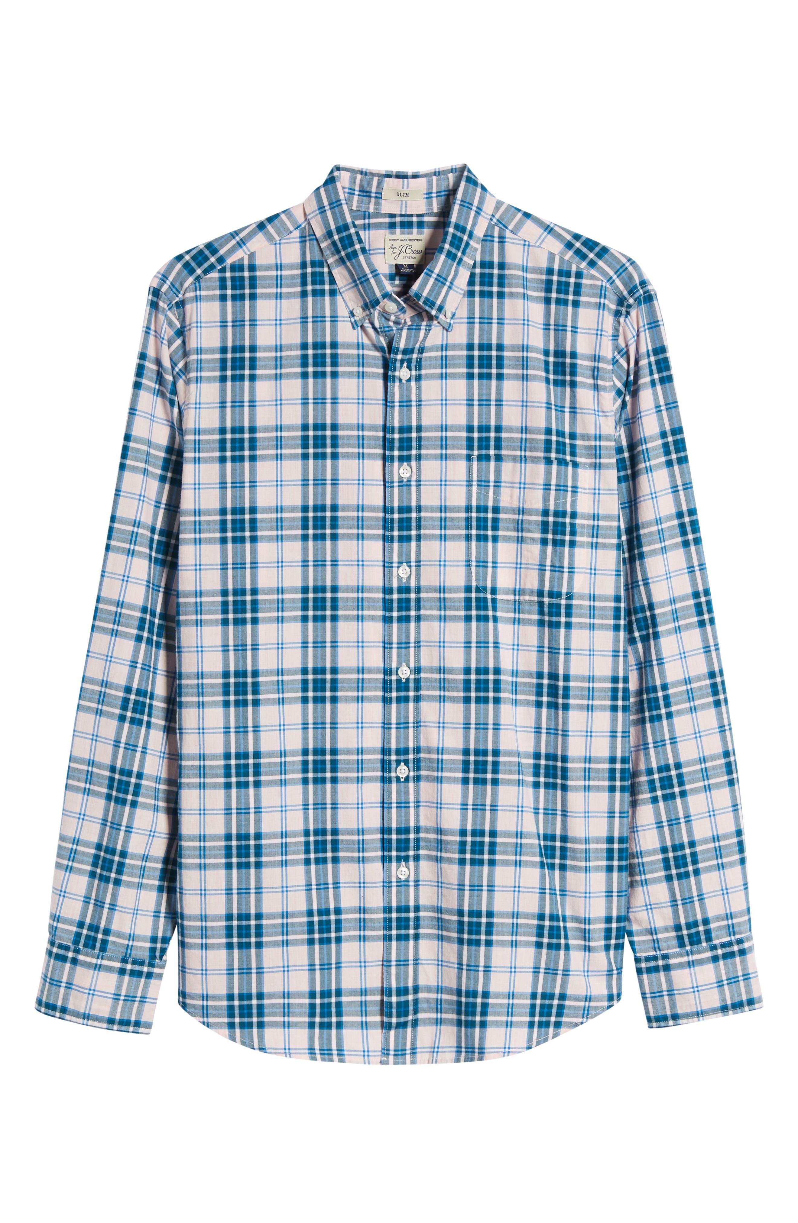 Slim Fit Stretch Secret Wash Heather Poplin Plaid Sport Shirt,                             Alternate thumbnail 6, color,