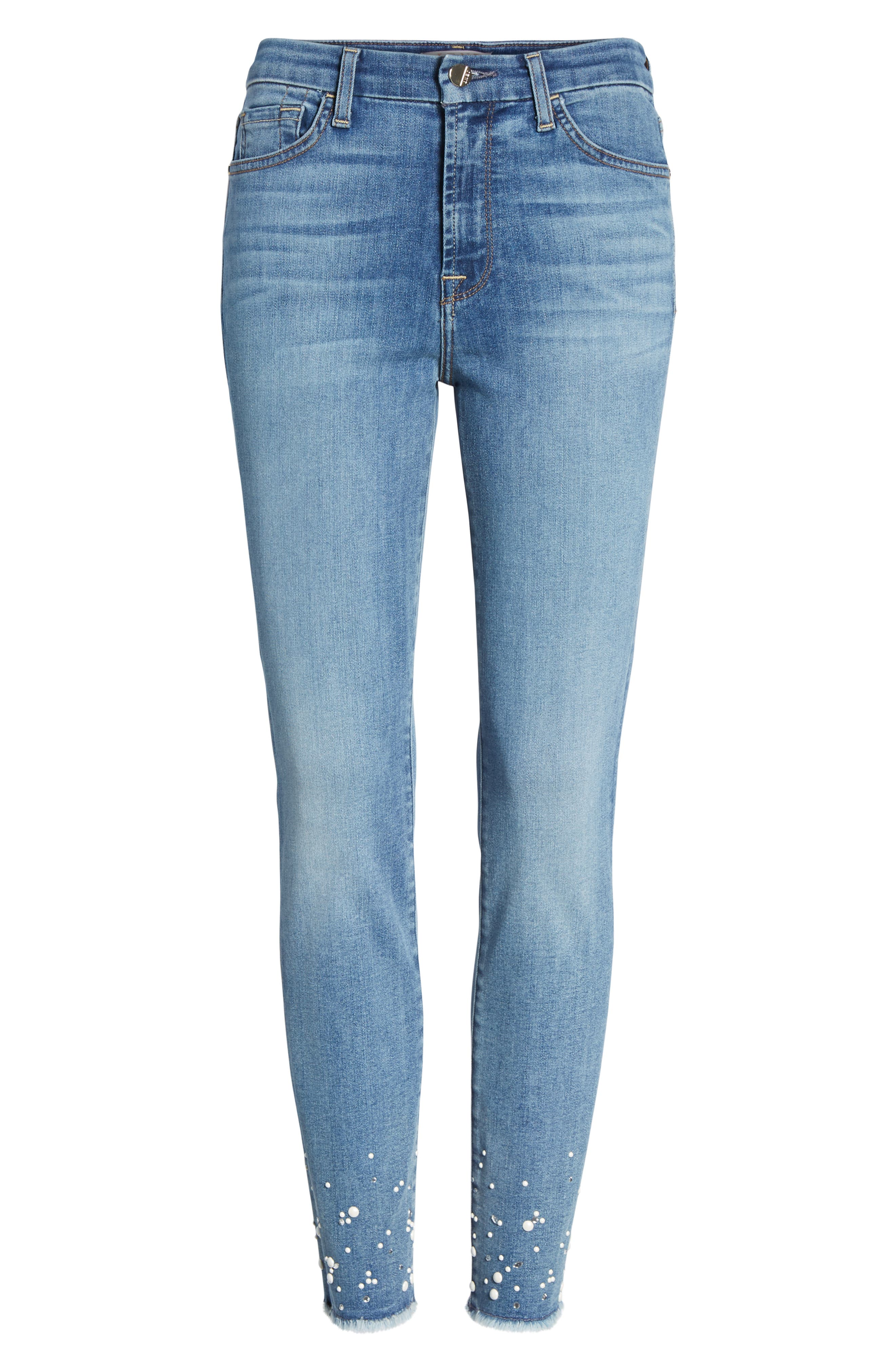 Embellished Hem Ankle Skinny Jeans,                             Alternate thumbnail 7, color,                             SUNLIGHT