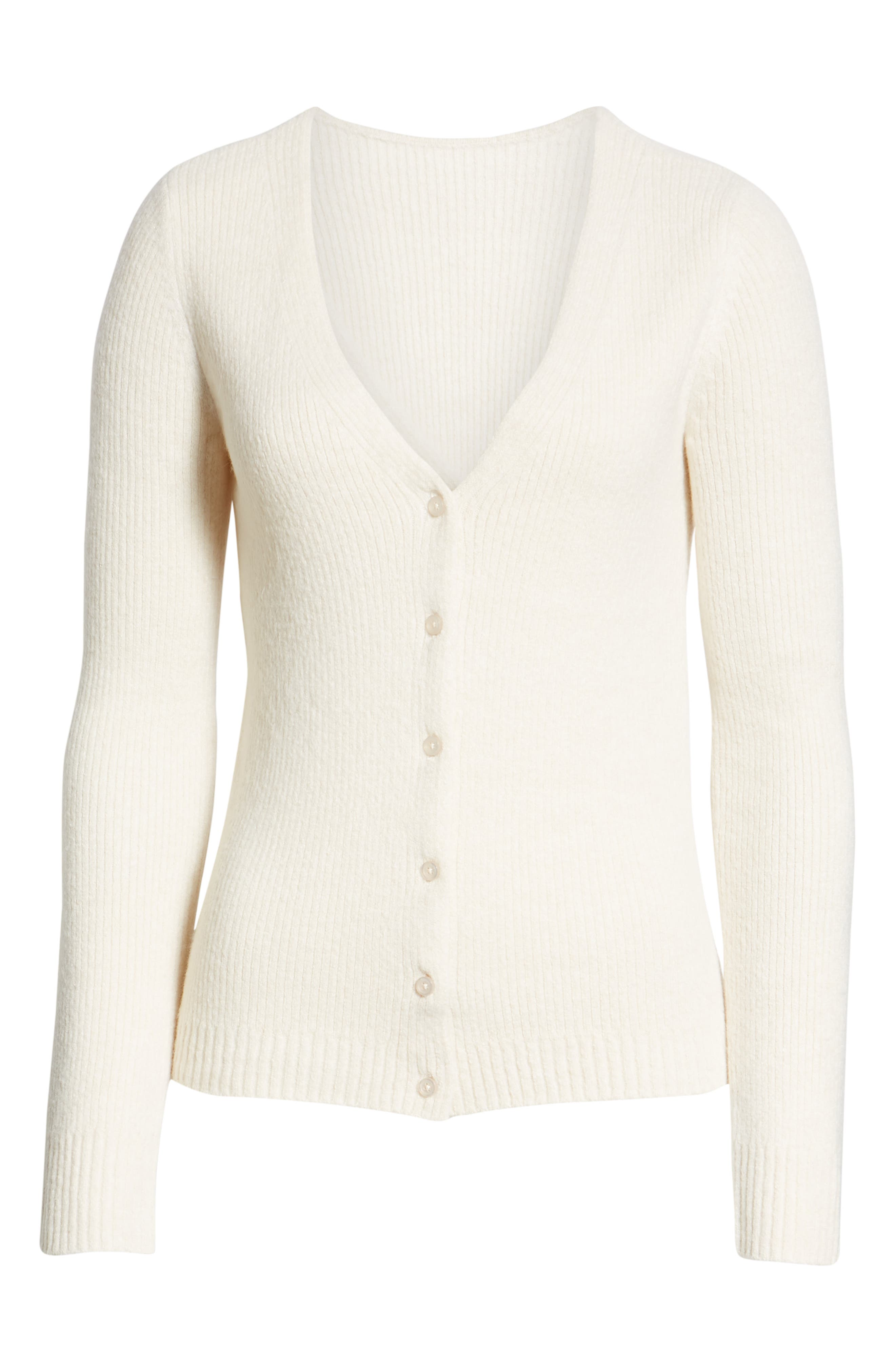 V-Neck Button Front Cardigan,                             Alternate thumbnail 6, color,                             BEIGE OATMEAL LIGHT HEATHER
