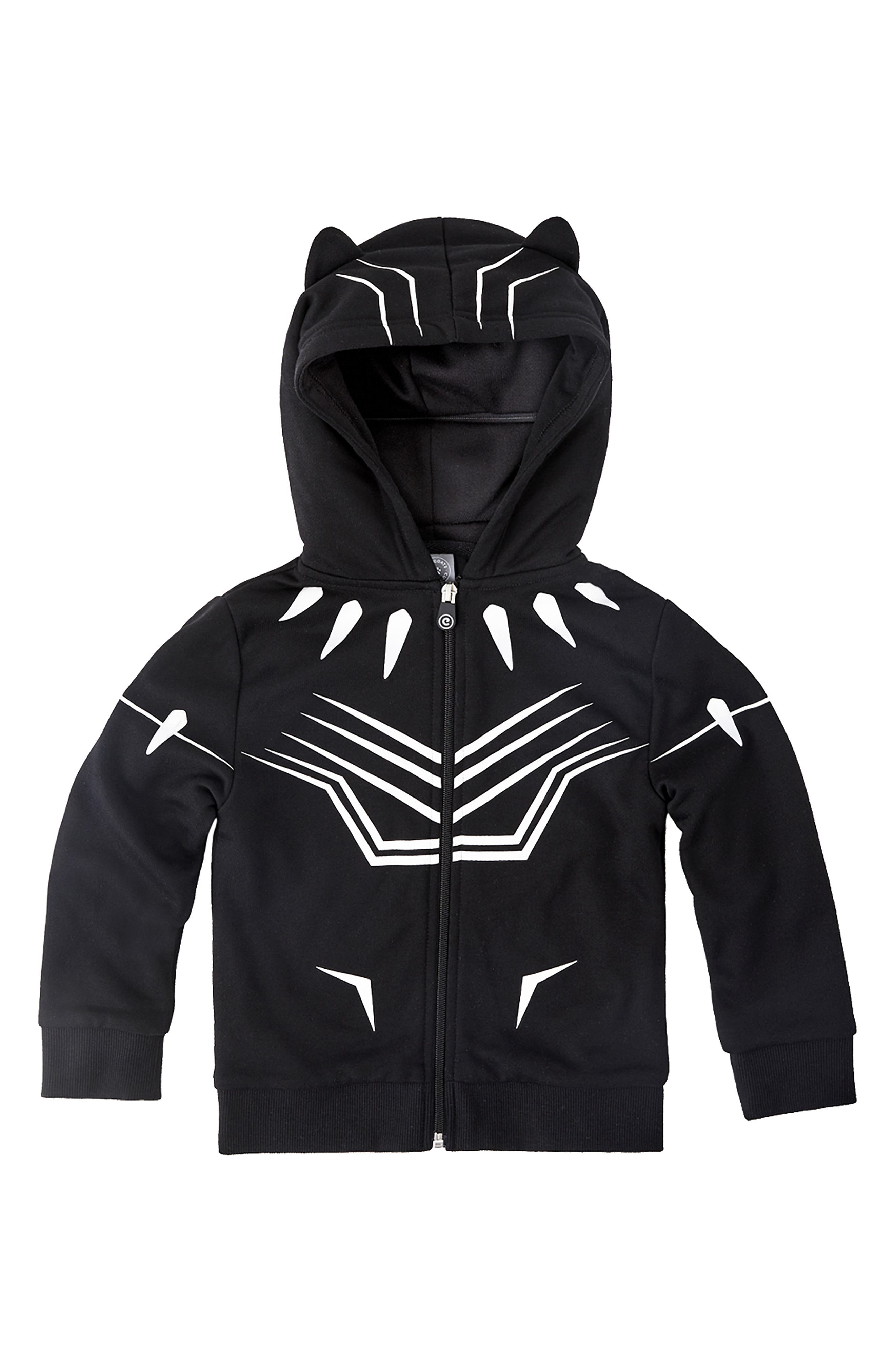 Marvel<sup>®</sup> 2018 Black Panther<sup>®</sup> 2-in-1 Stuffed Animal Hoodie,                             Alternate thumbnail 5, color,                             BLACK