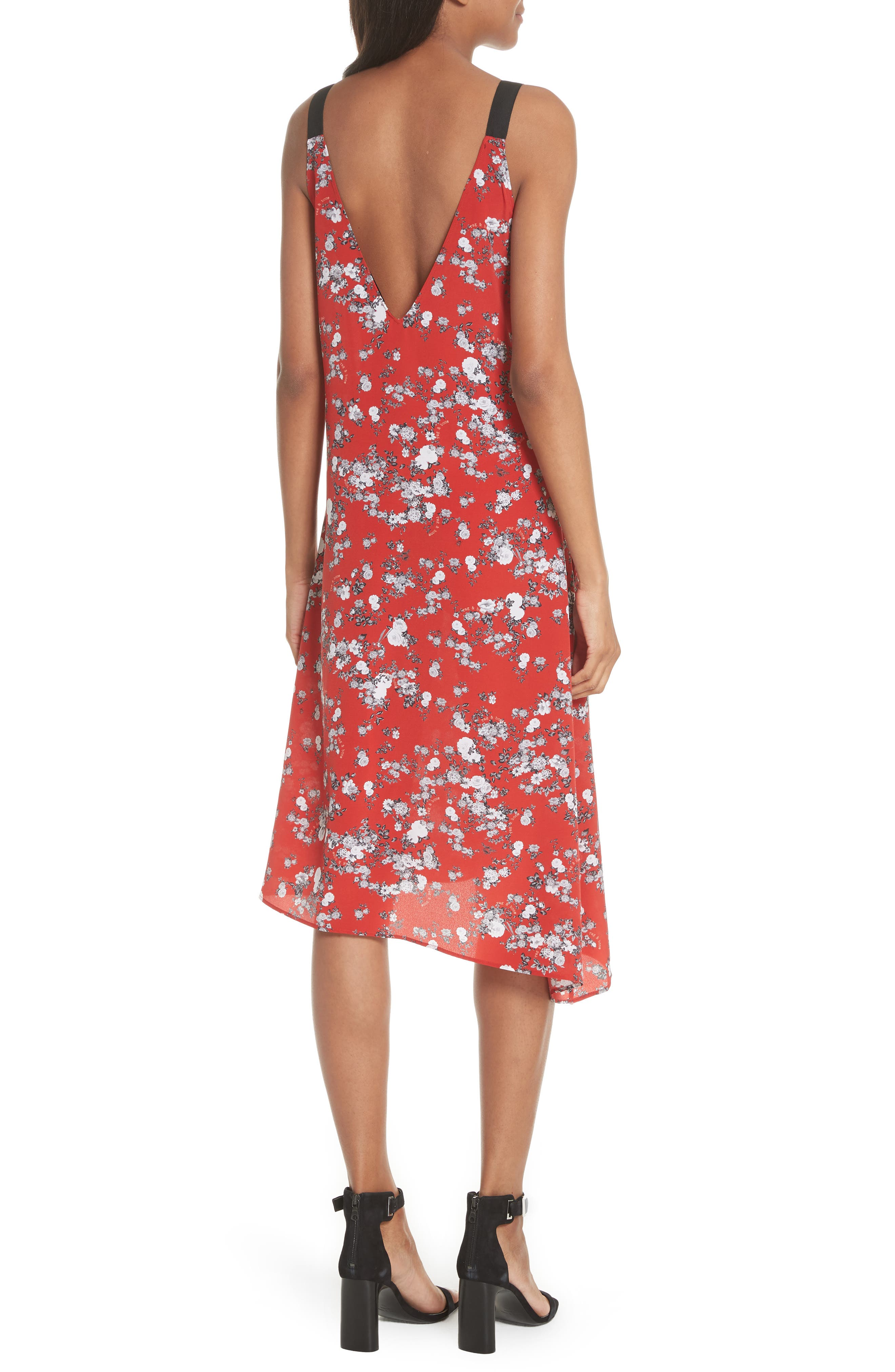 Zoe Floral Print Silk Dress,                             Alternate thumbnail 2, color,                             RED GARDEN FLORAL