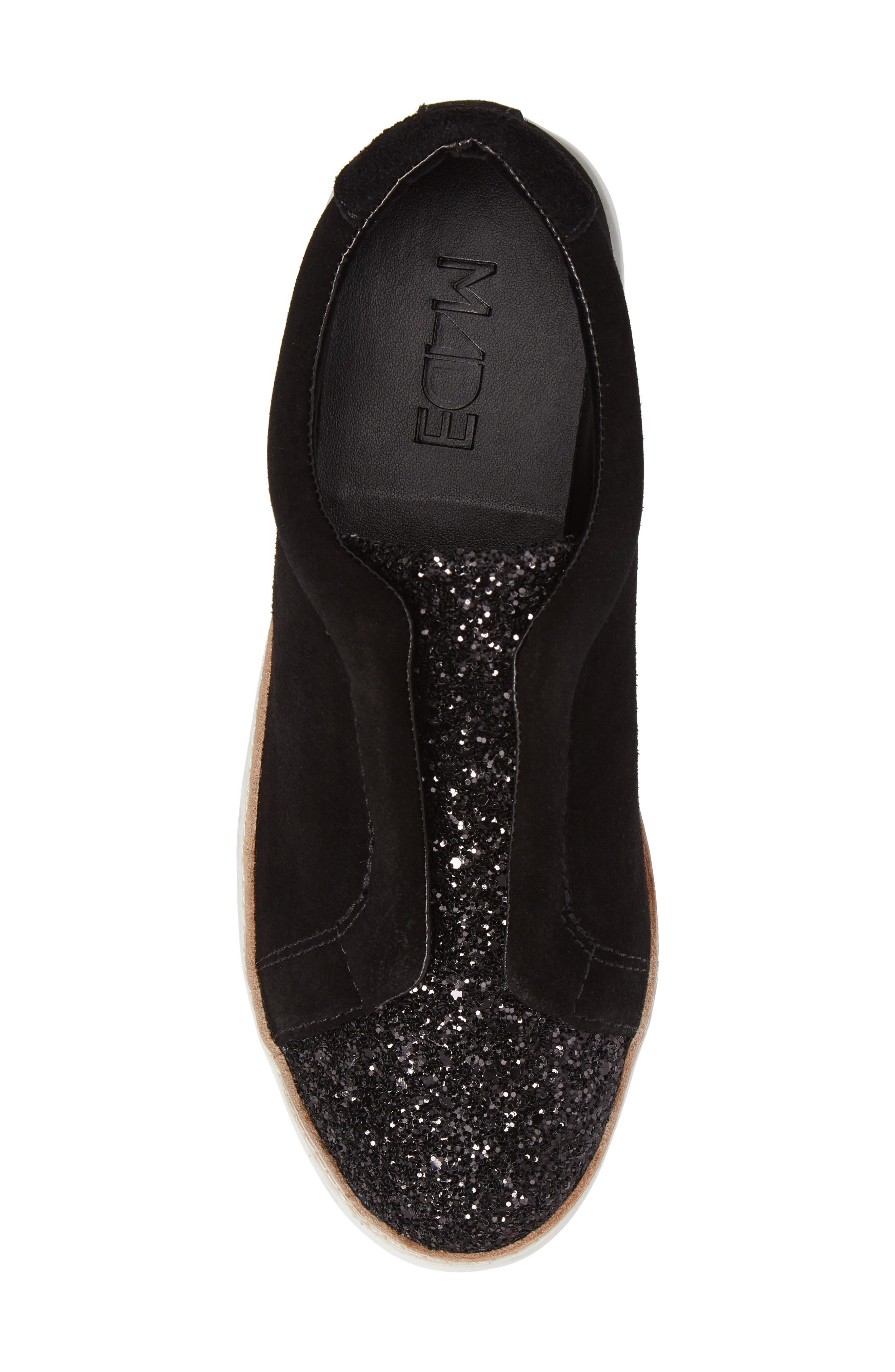 M4D3 Super Slip-On Sneaker,                             Alternate thumbnail 5, color,                             BLACK GLITTER LEATHER