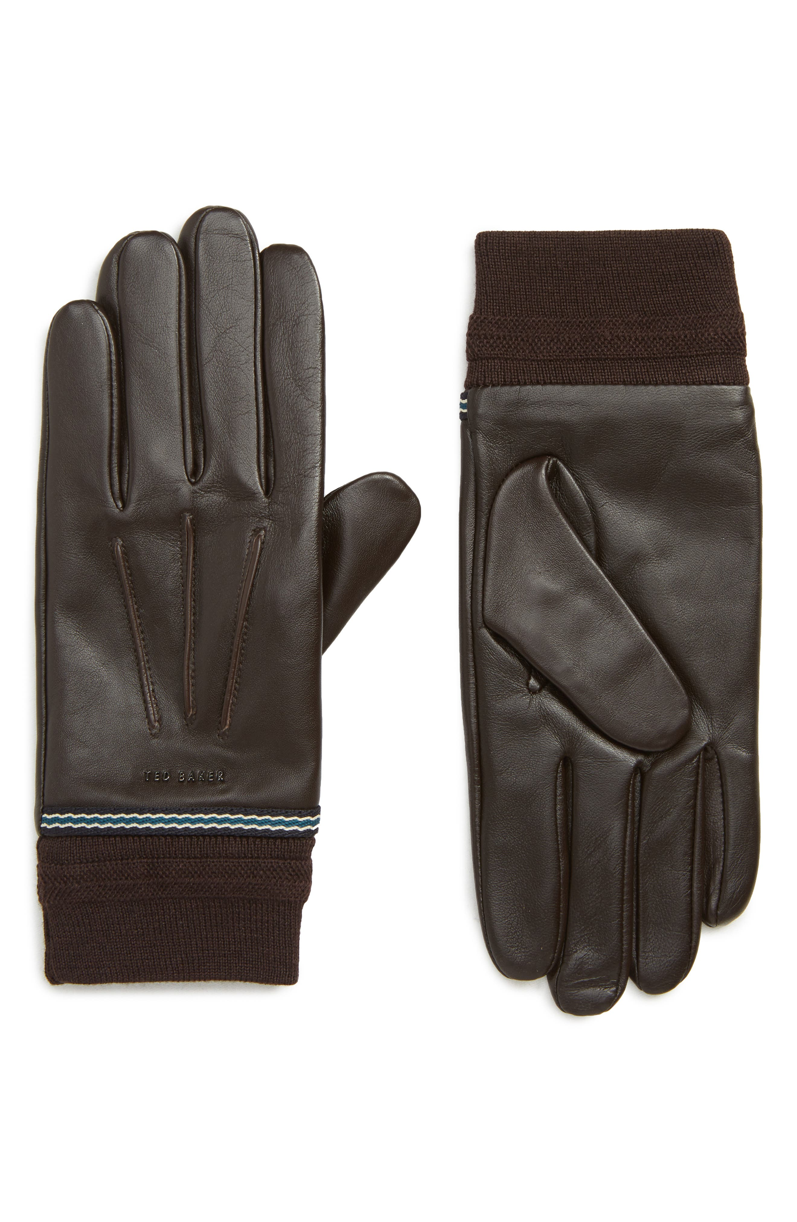 Ted Baker London Cuffed Leather Touchscreen Gloves, Brown
