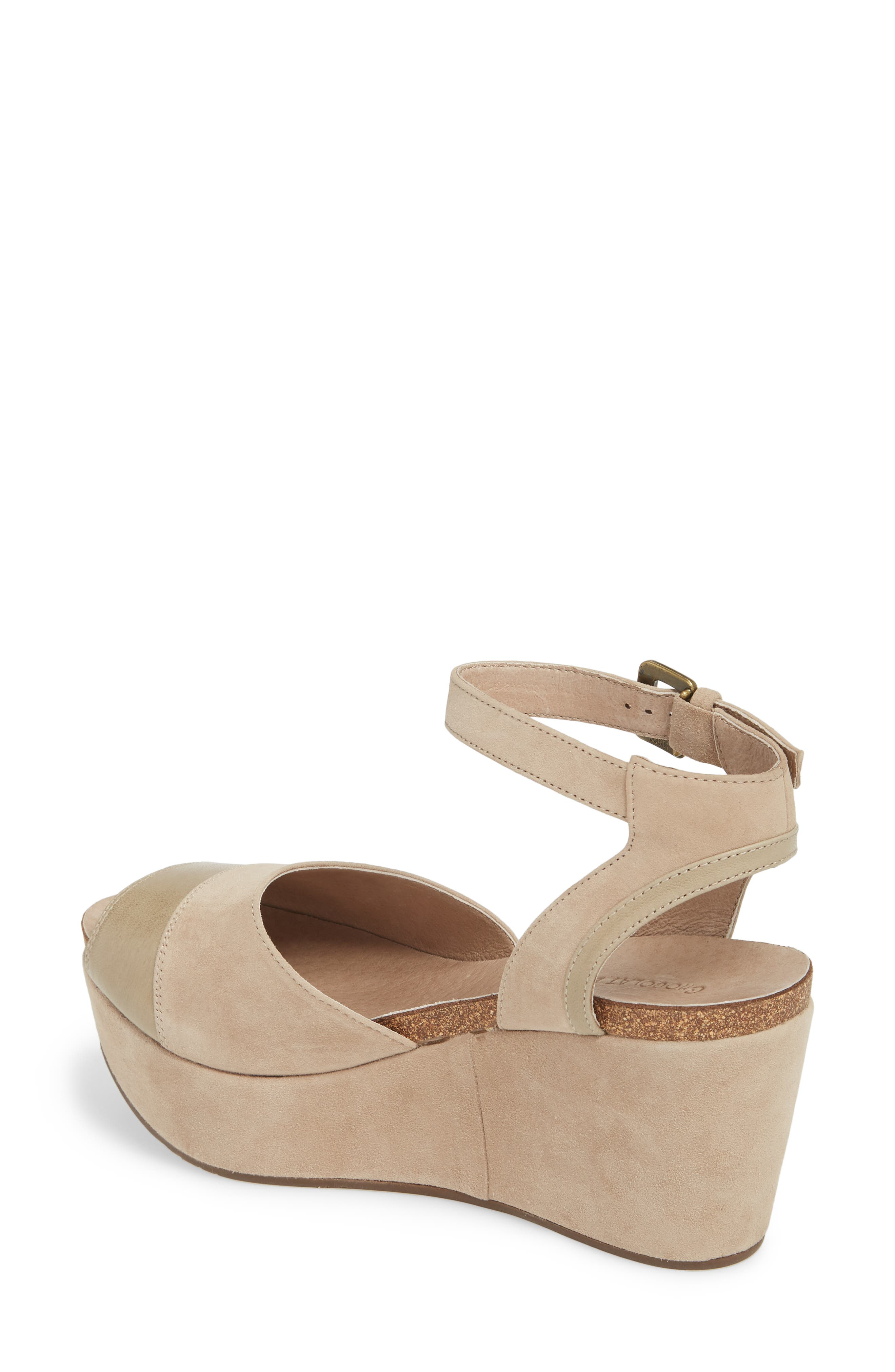 Chocolate Blu Welby Ankle Strap Wedge Sandal,                             Alternate thumbnail 2, color,                             TAUPE SUEDE