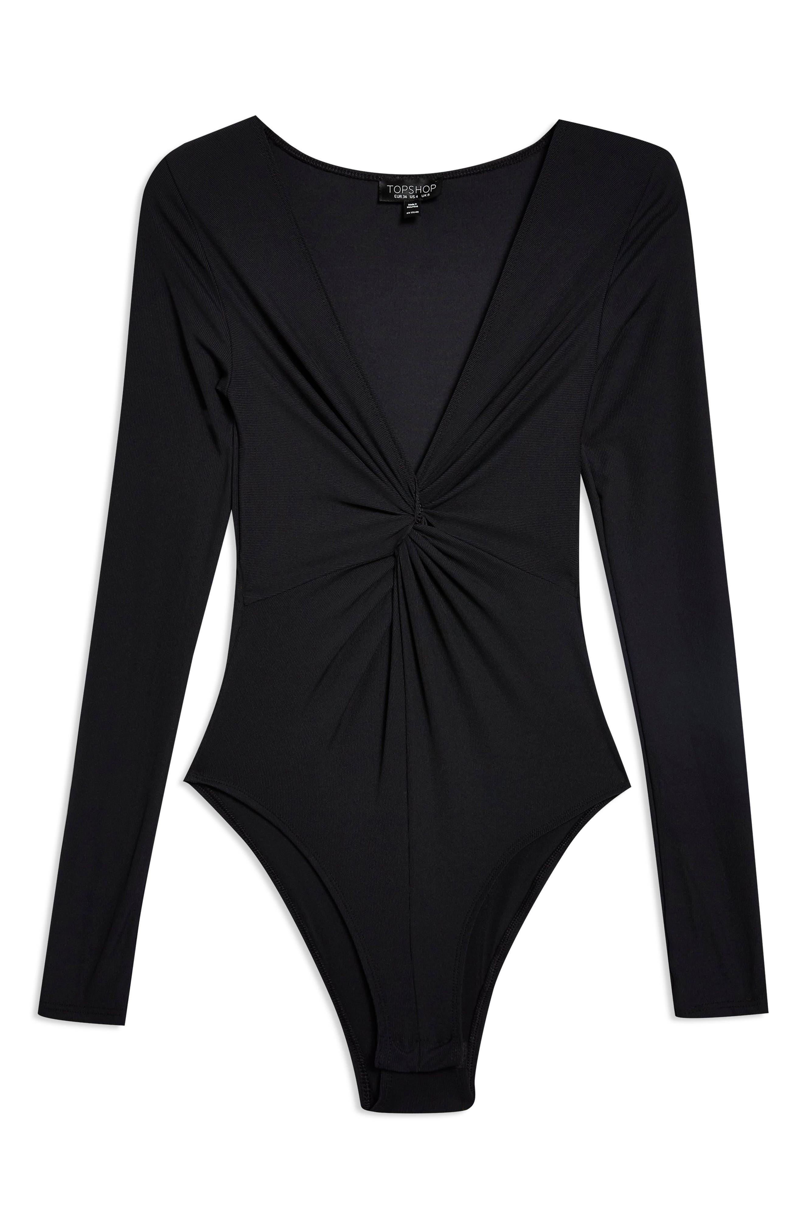 Twist Bodysuit,                             Alternate thumbnail 3, color,                             BLACK