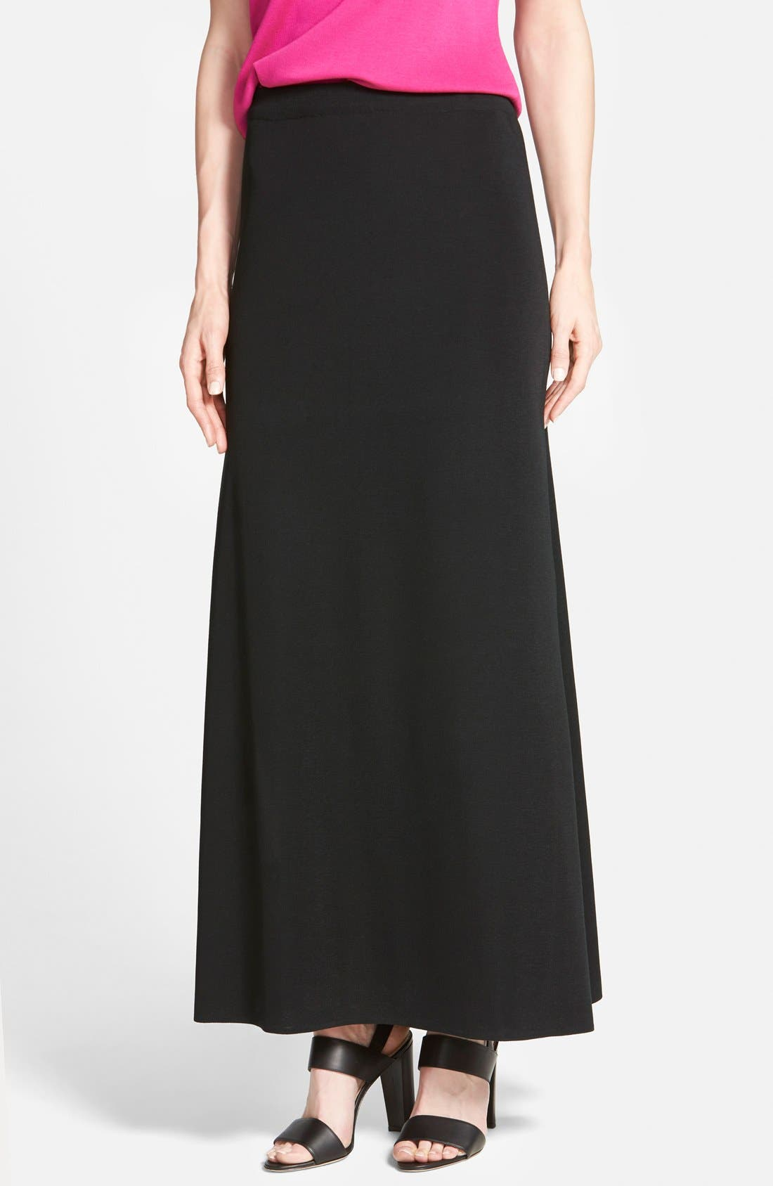 MING WANG,                             A-Line Knit Maxi Skirt,                             Main thumbnail 1, color,                             BLACK