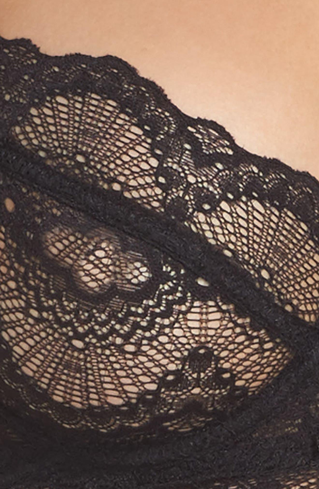 Lace Underwire Longline Bra,                             Alternate thumbnail 4, color,                             001