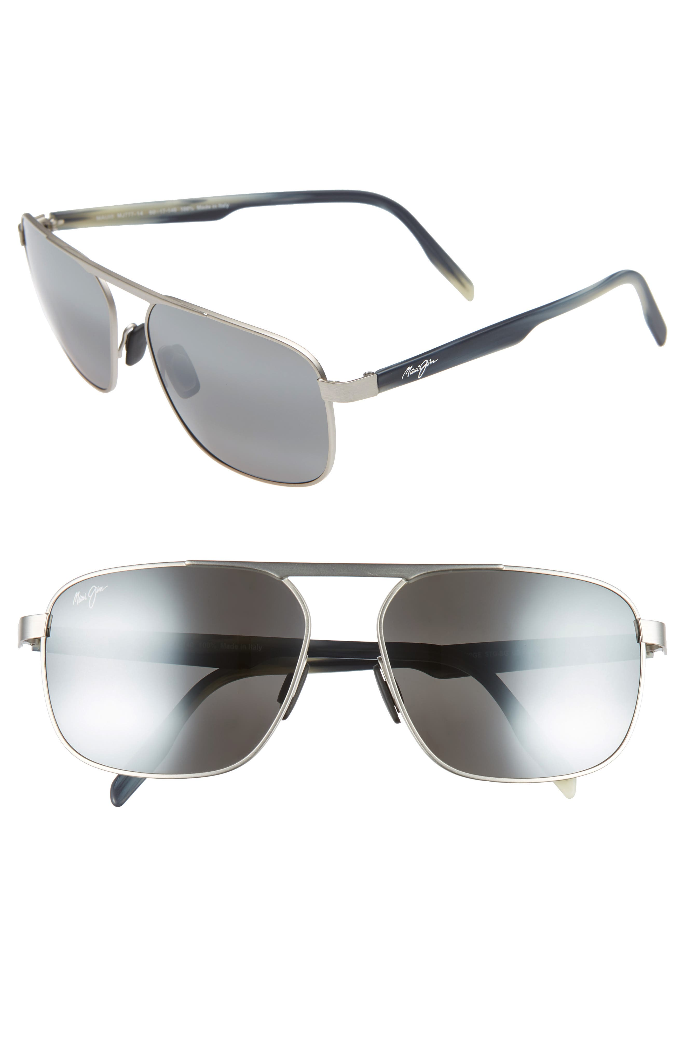 Waihe'e Ridge 60mm Polarized Sunglasses,                             Main thumbnail 1, color,                             BRUSHED GREY/ NEUTRAL GREY