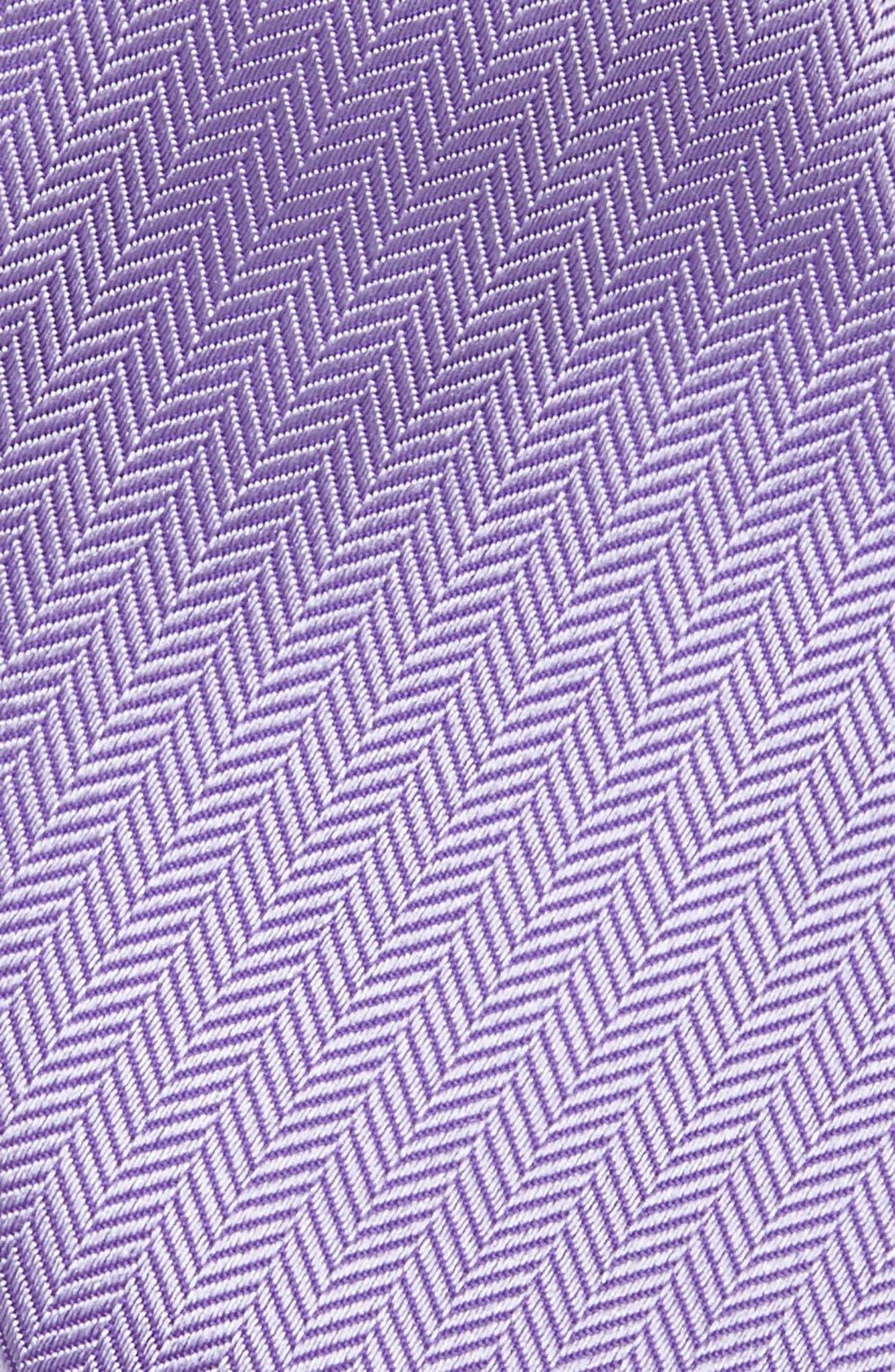 Herringbone Textured Silk Tie,                             Alternate thumbnail 3, color,                             LAVENDER