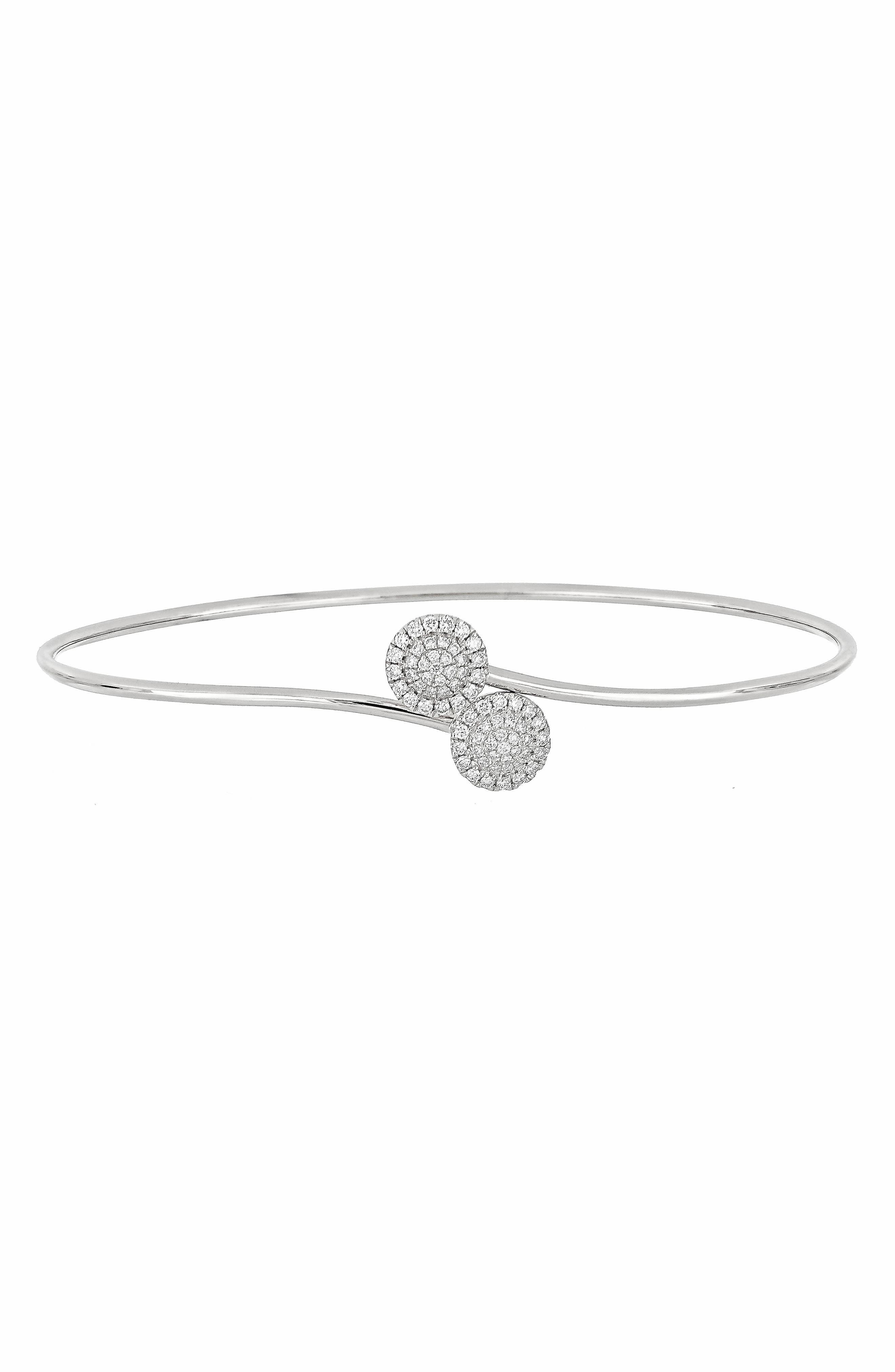 Flower Diamond Bangle,                             Main thumbnail 1, color,                             WHITE GOLD