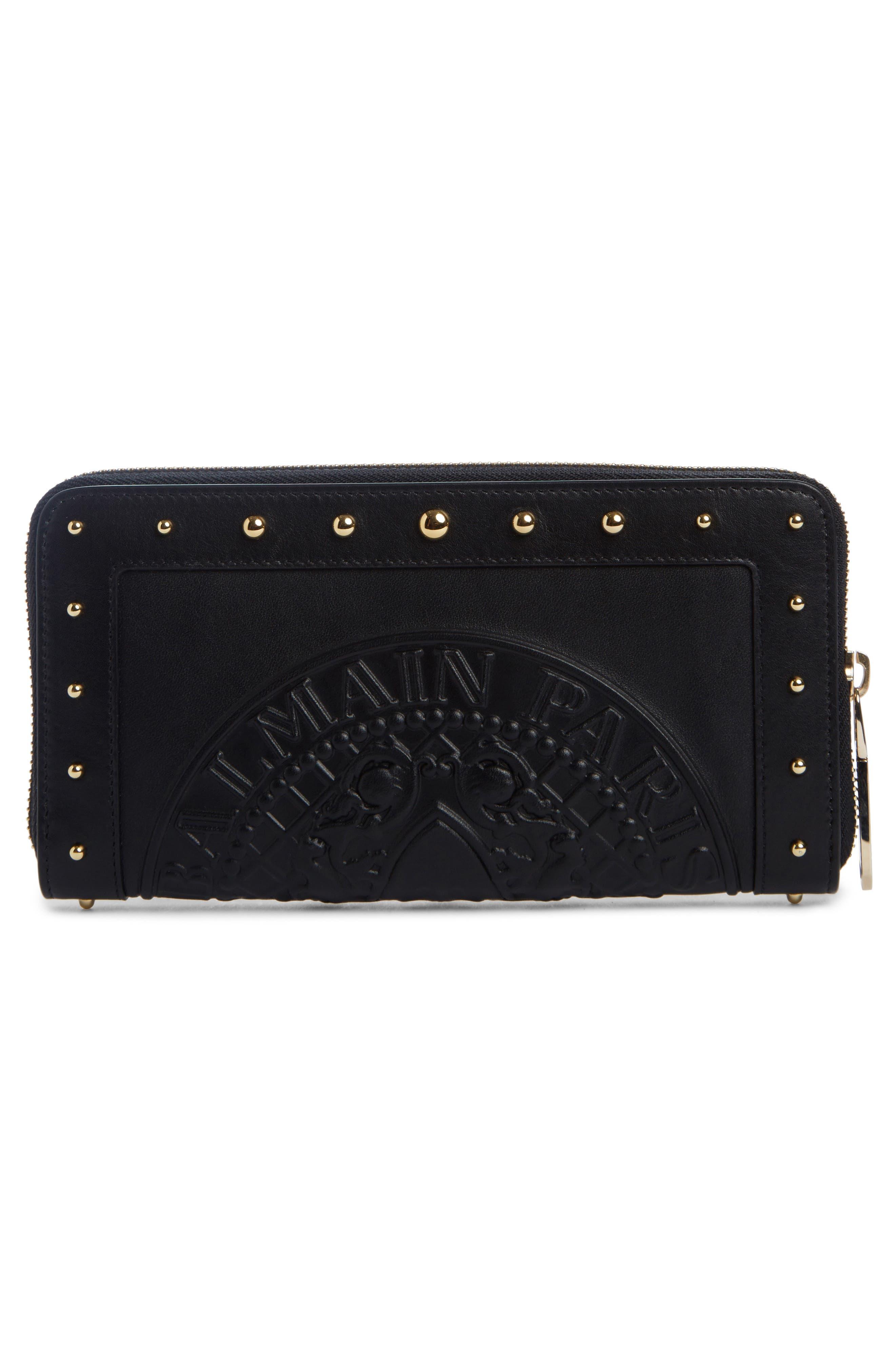 Renaissance Leather Continental Wallet,                             Alternate thumbnail 2, color,                             NOIR