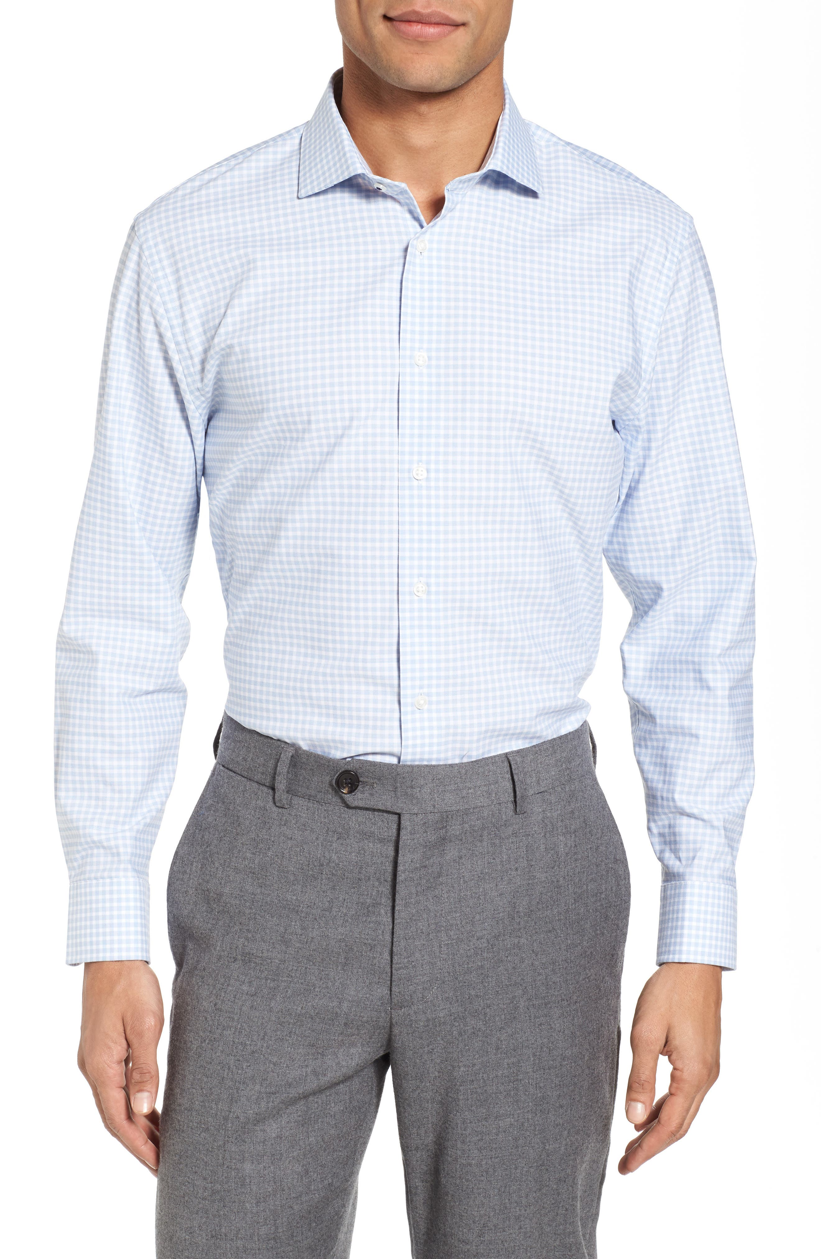 Tech-Smart Trim Fit Stretch Check Dress Shirt,                         Main,                         color, 420