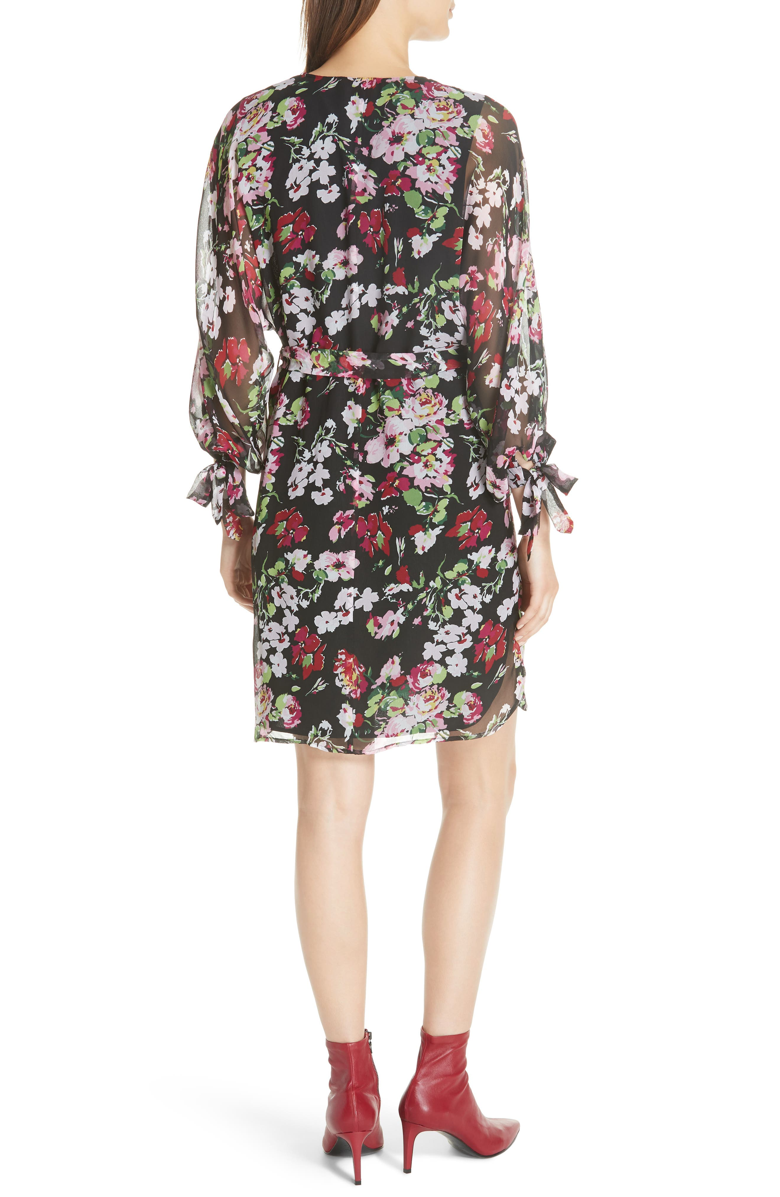Natasha Floral Print Silk Dress,                             Alternate thumbnail 2, color,                             TRUE BLACK MULTI
